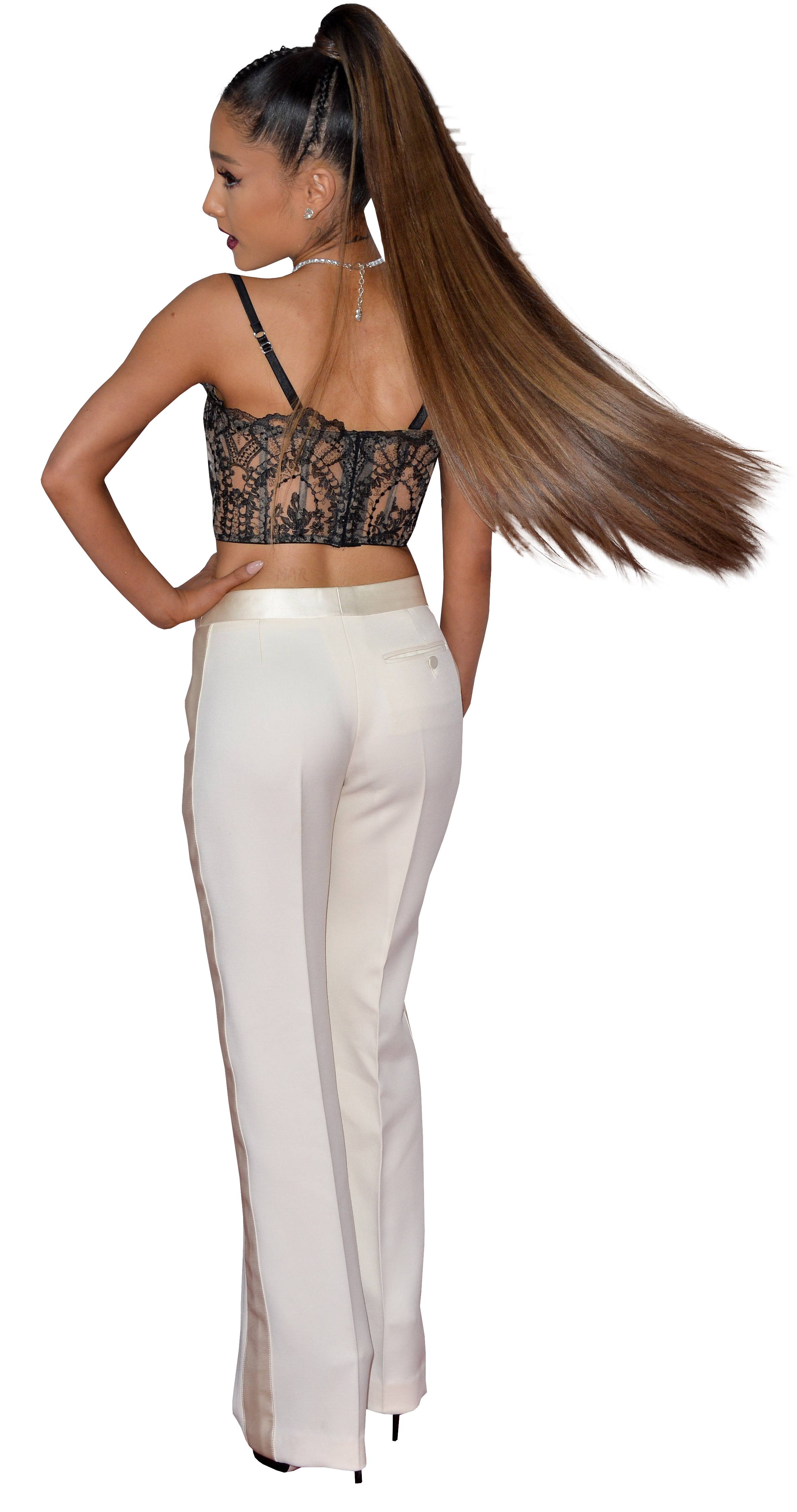 Ariana Grande in white trousers