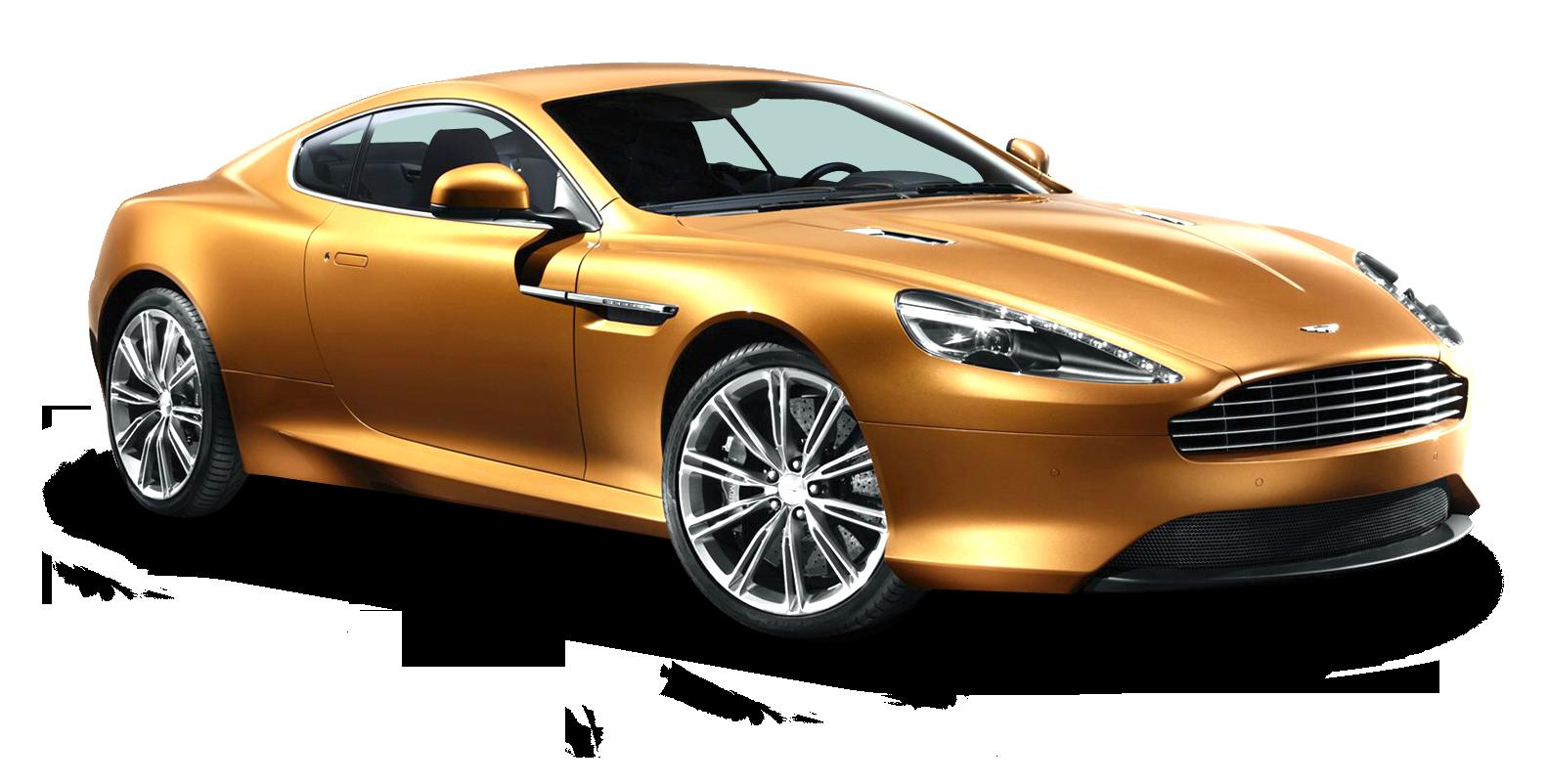 Aston Martin Virage Gold Car PNG Image