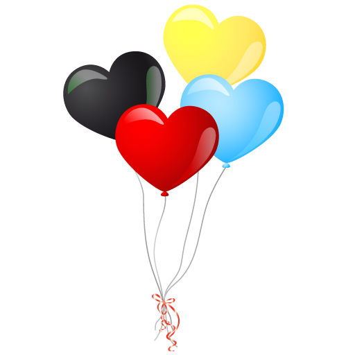 Colorful Heart Balloons PNG Image