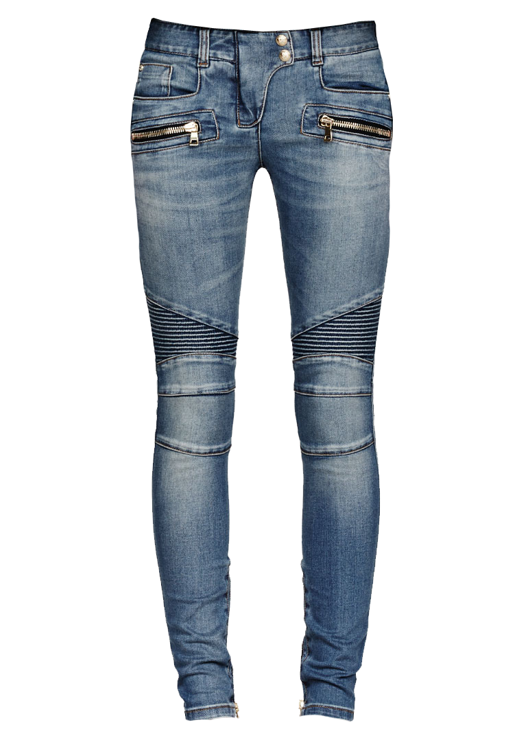 Balmain Blue Ribbed BIker Jeans