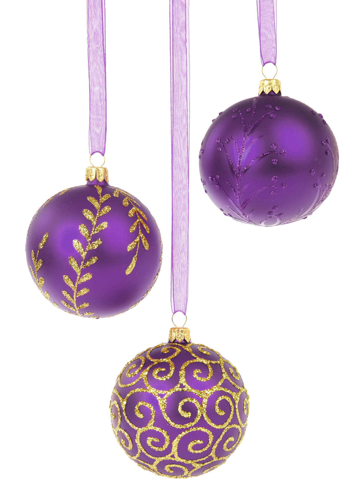Purple Christmas Baubles PNG Image