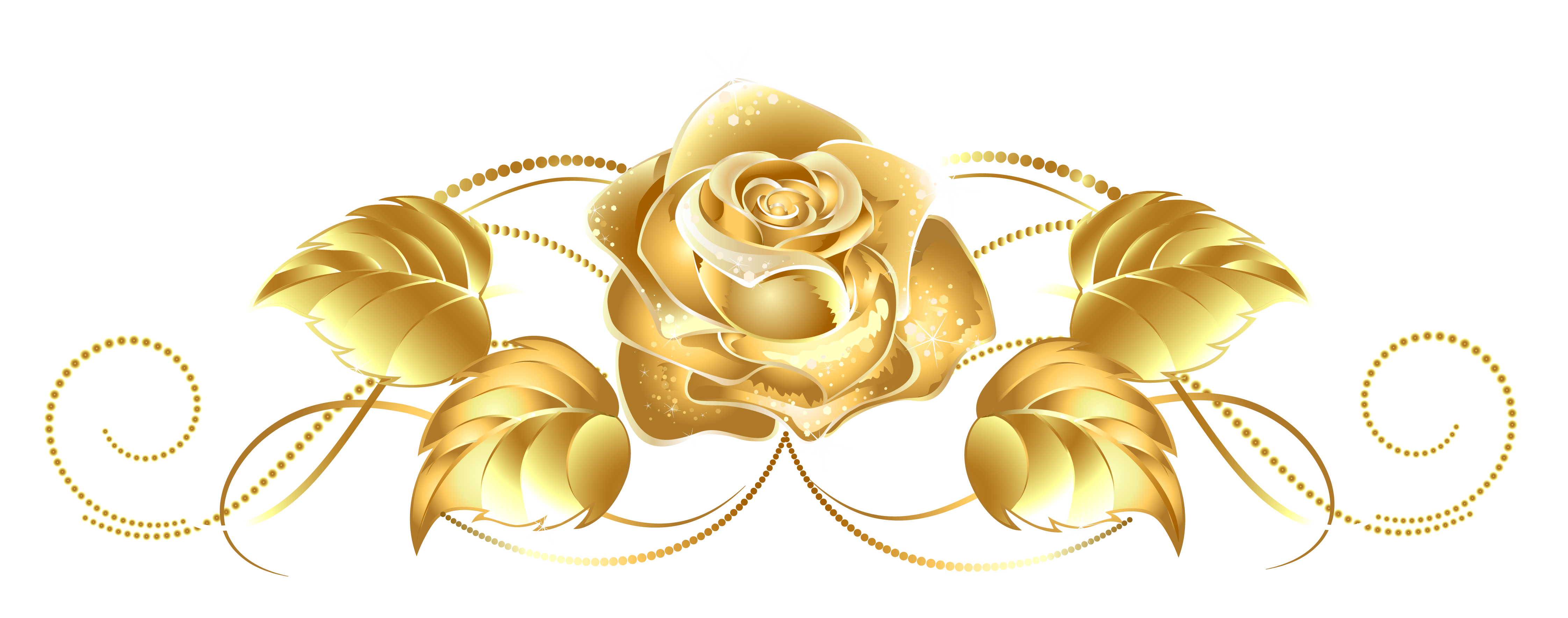 Beautiful Gold Rose Decor PNG Image
