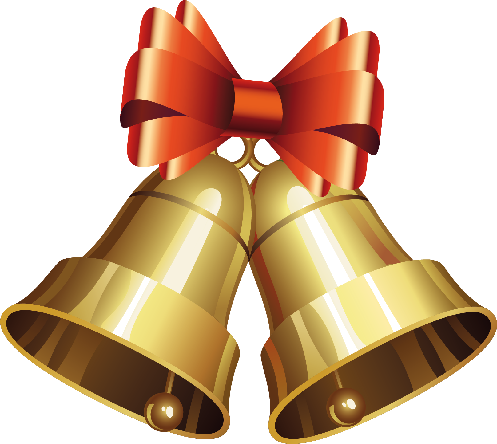 Golden Christmas Bells with Bow PNG Image