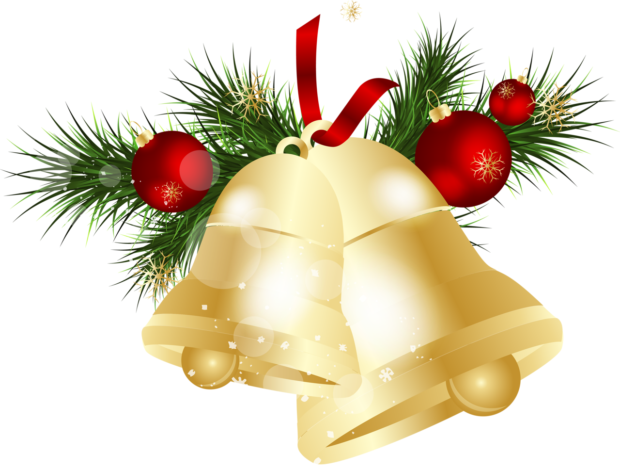 Traditional Golden Christmas Bell PNG Image