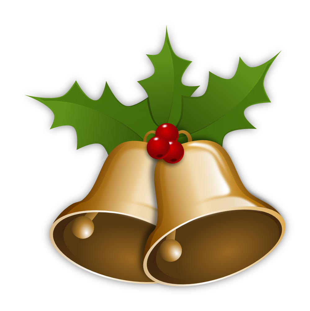 Christmas Bell with Mistletoe  PNG Image