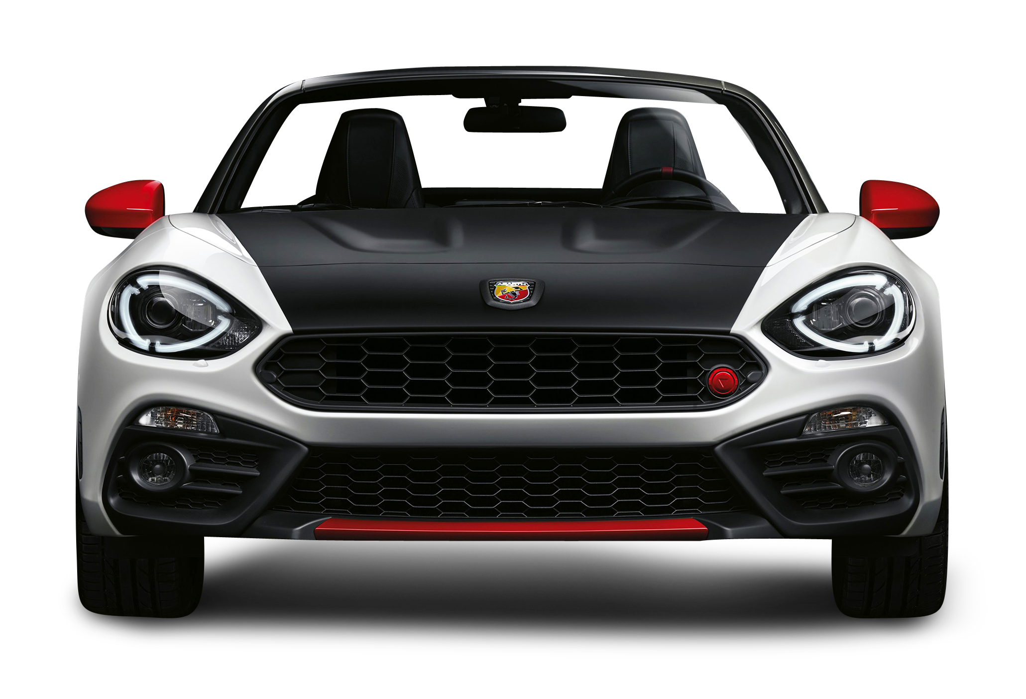 Black and White Fiat 124 Spider Abarth View Car