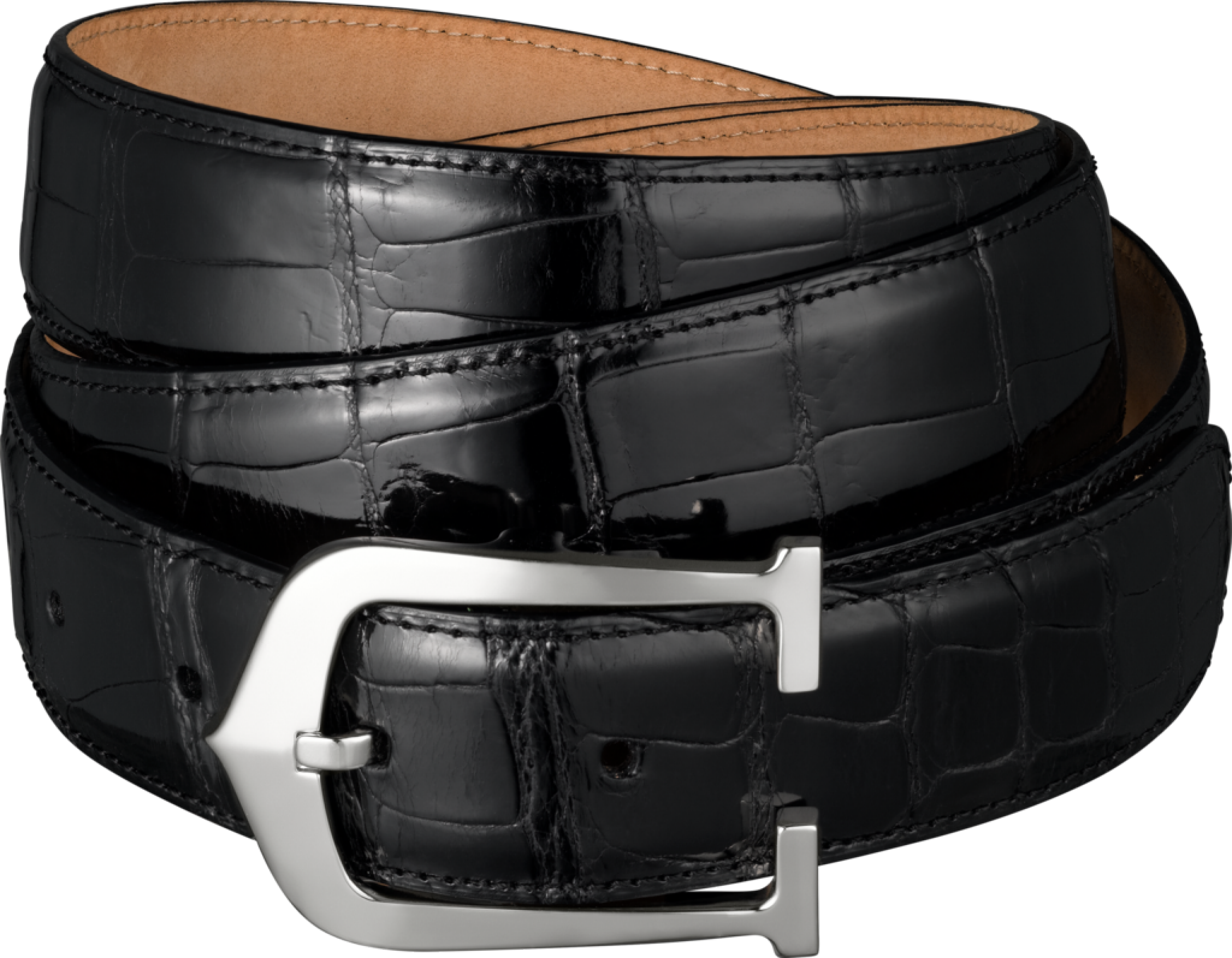 Black Belt With Stylish Buckles PNG Image
