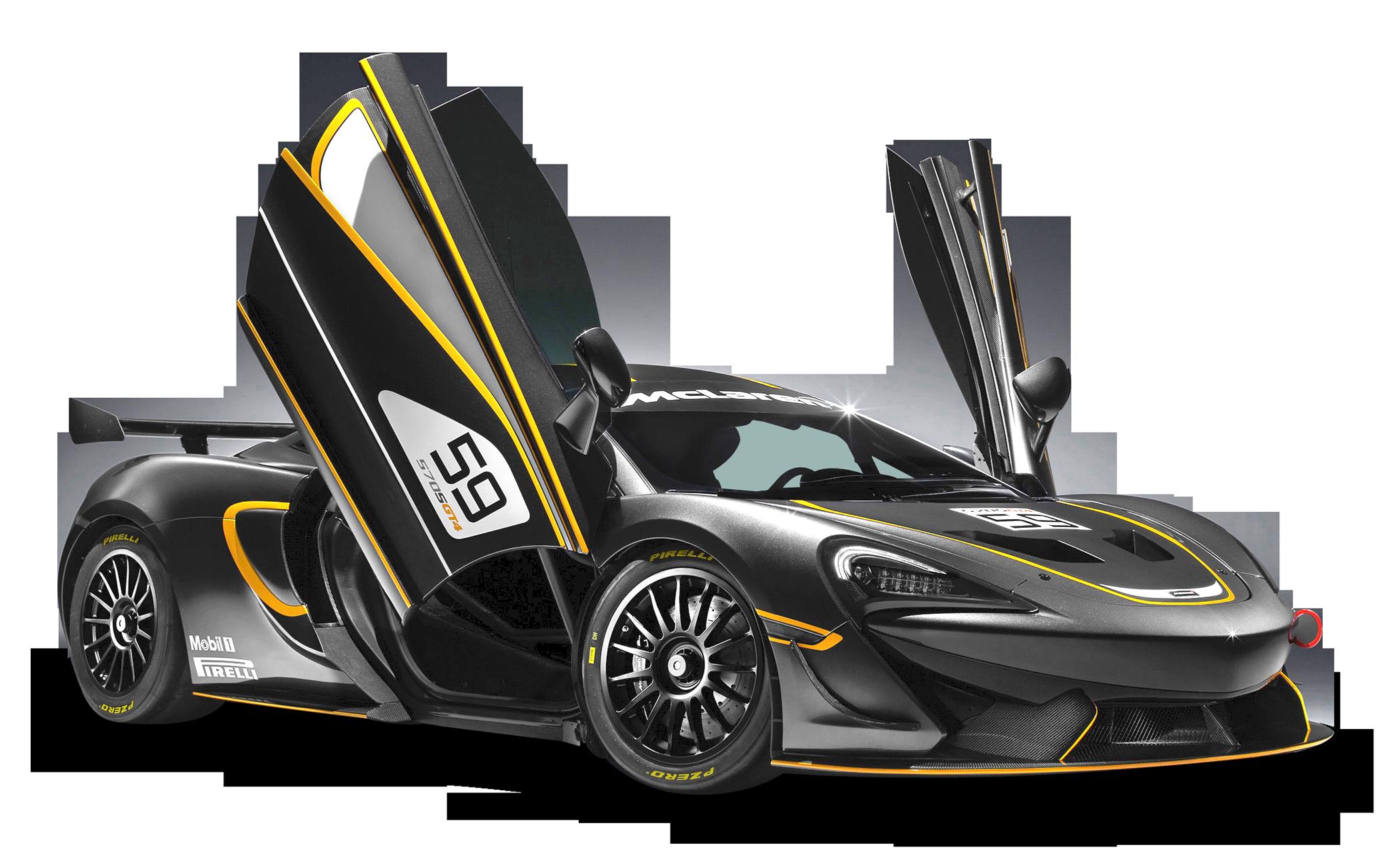 Black McLaren 570S GT4 Sports Car PNG Image