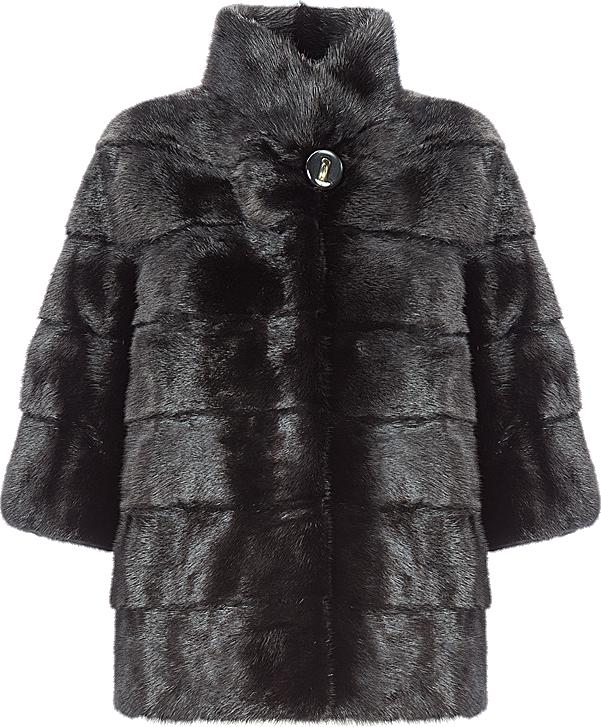 Black Rabbit Fur Pea Coat For Men Special