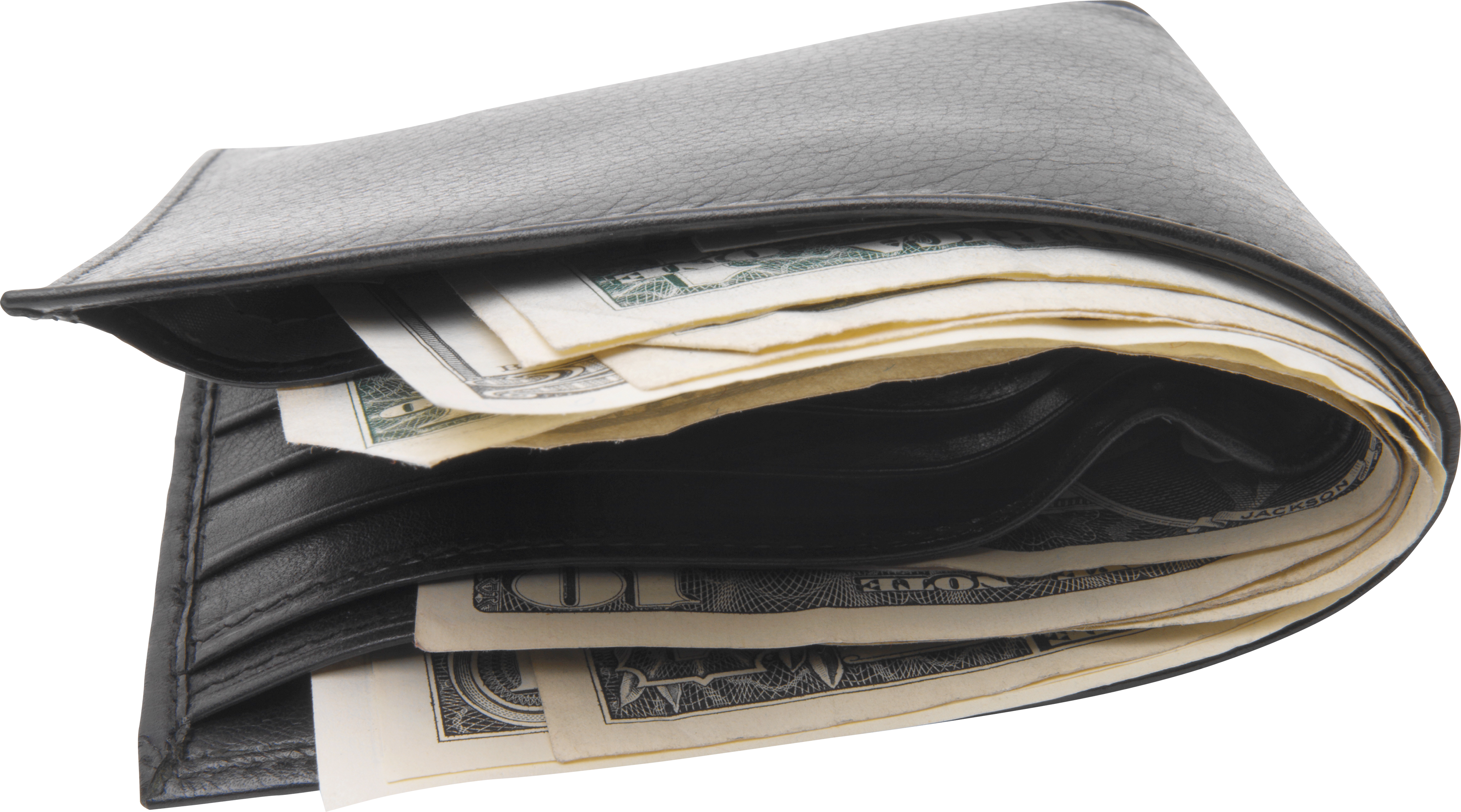 Black Wallet With Money PNG Image