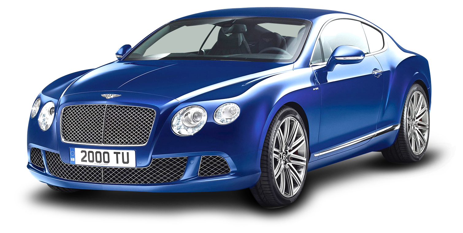 Blue Bentley Continental GT Speed Car PNG Image