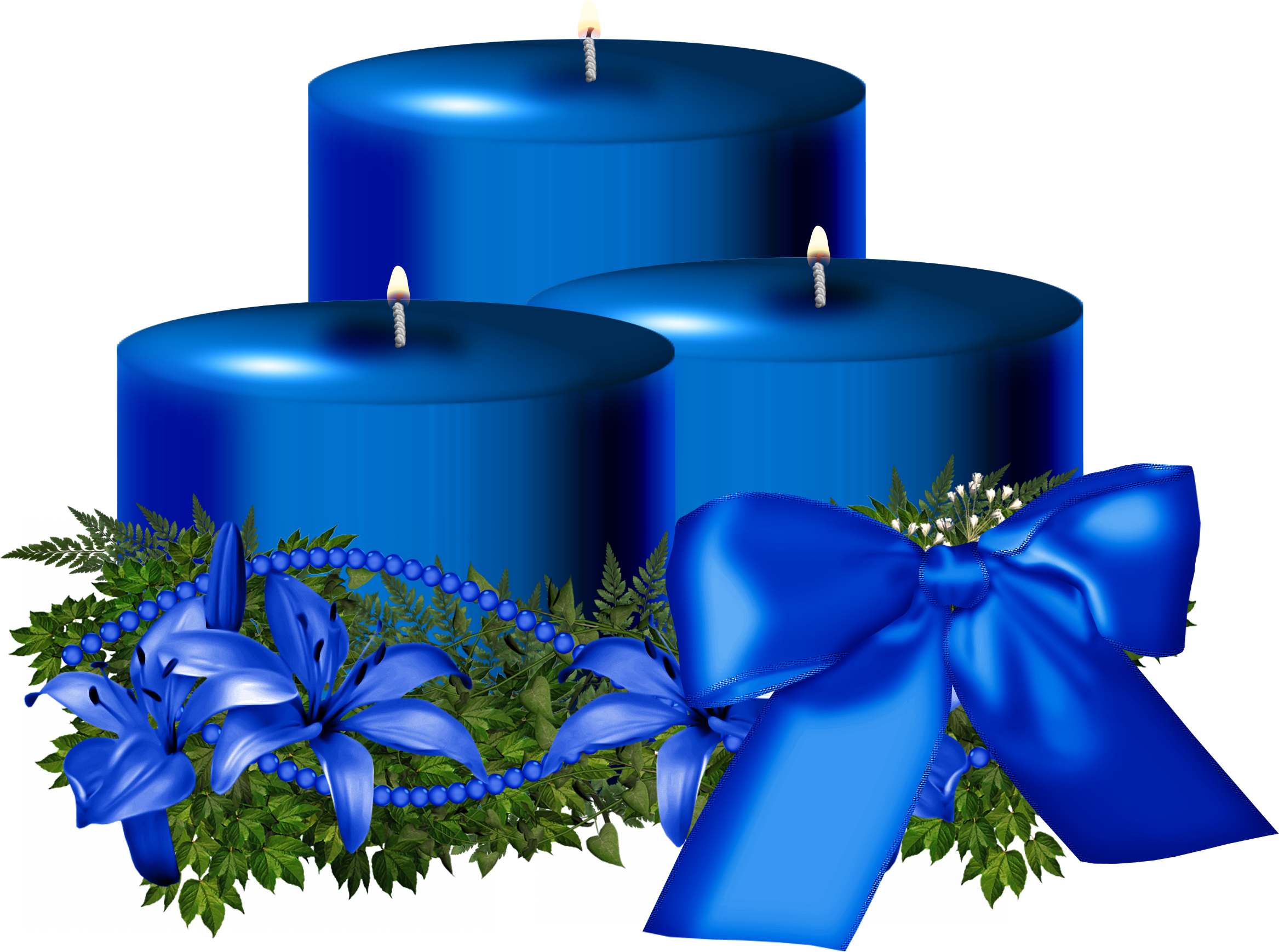 Tree Blue Christmas Candle Decorated PNG Image