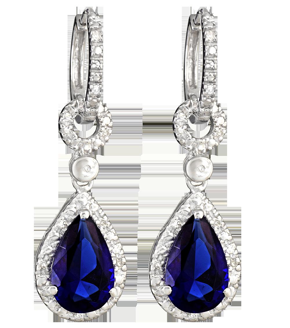 Blue Diamond Earrings PNG Image