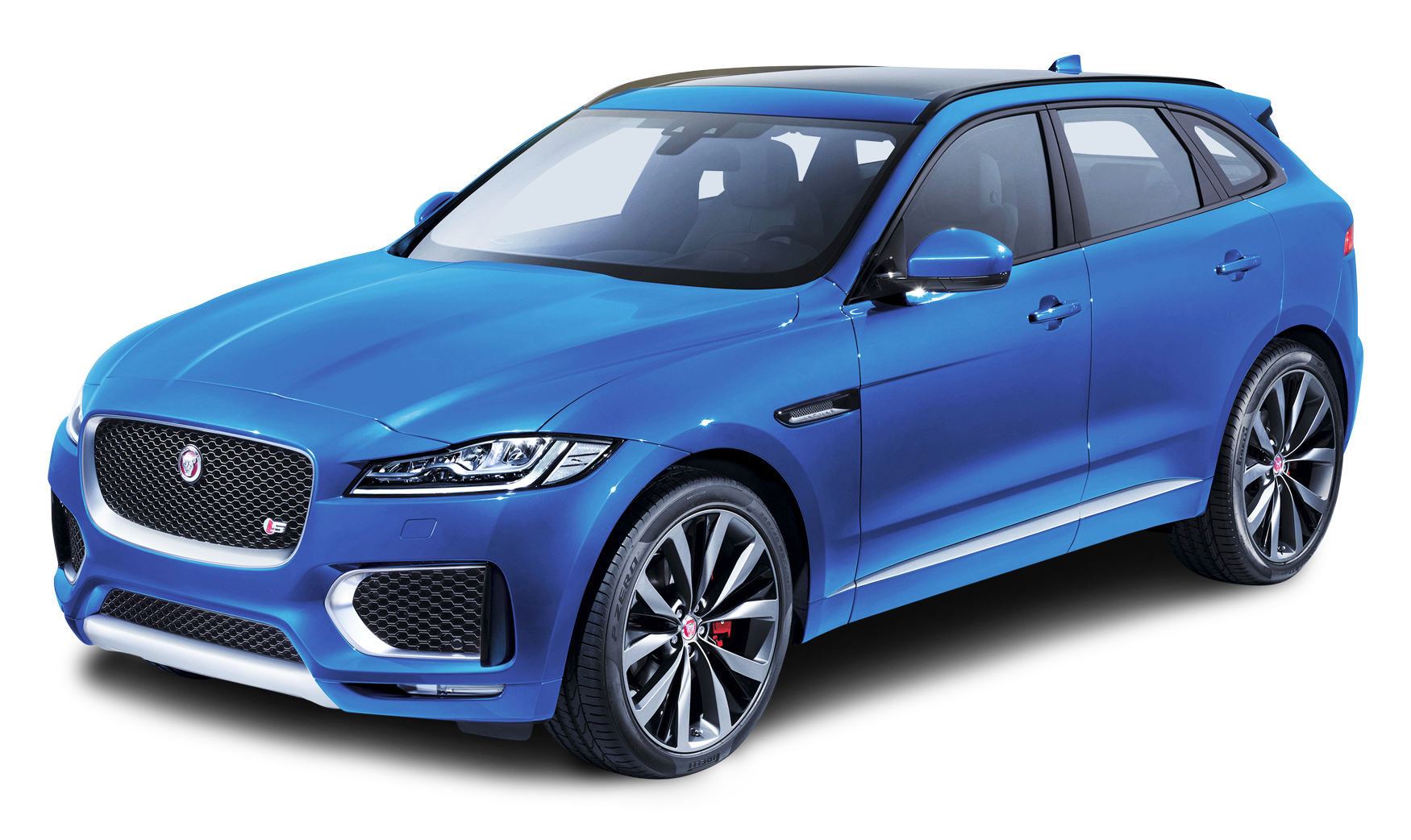 Blue Jaguar F PACE Side View Car