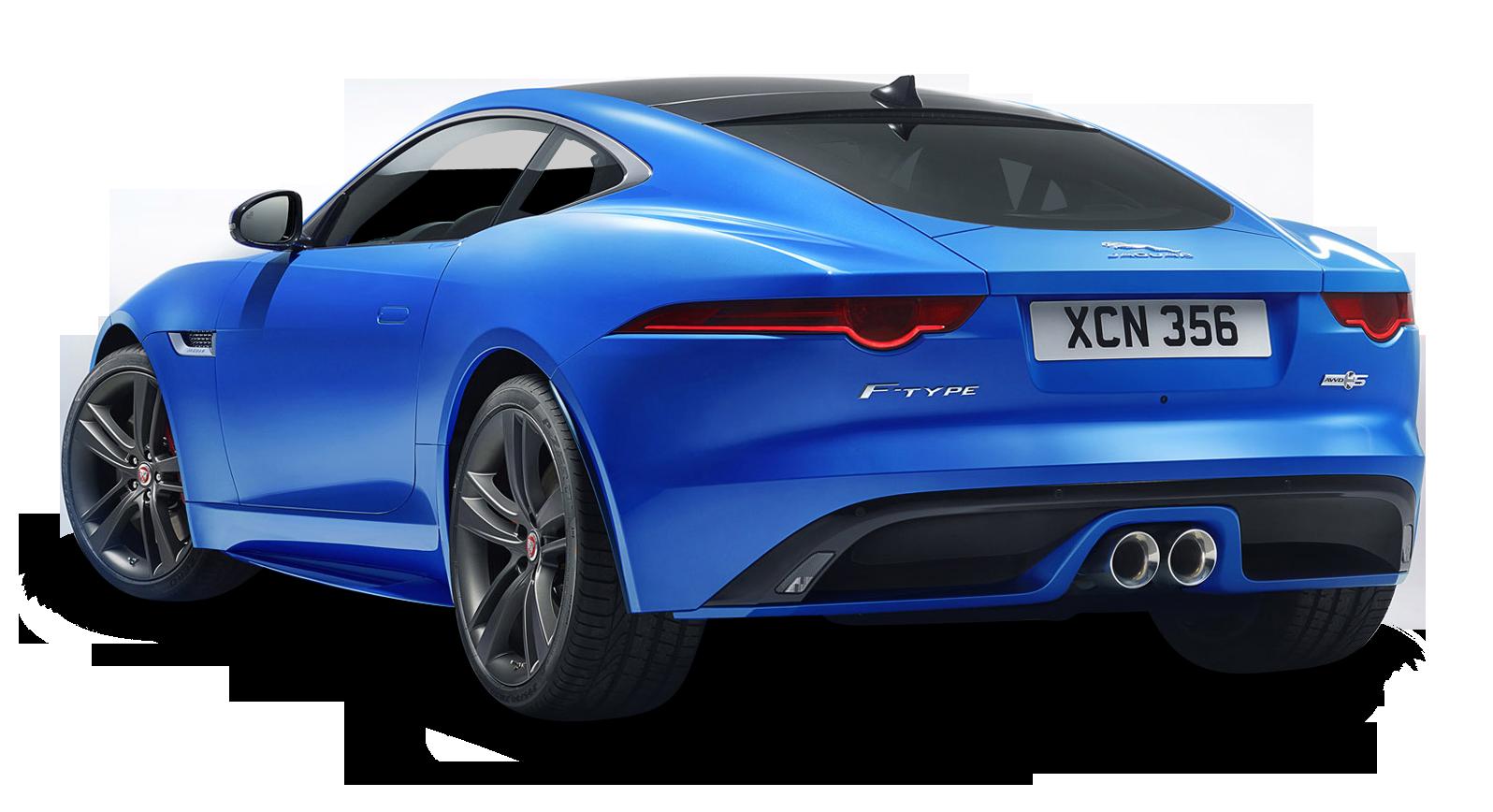 Blue Jaguar F TYPE Back View Car