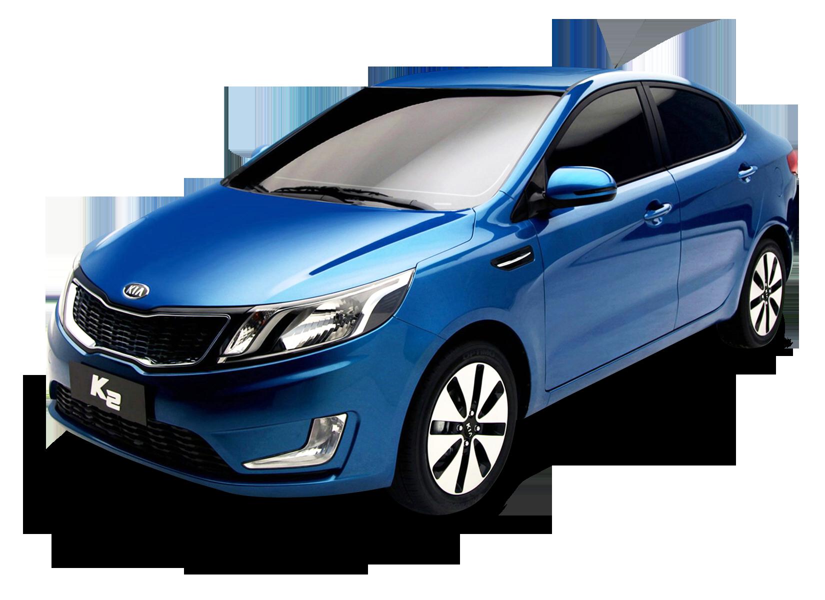 Blue Kia K2 Car