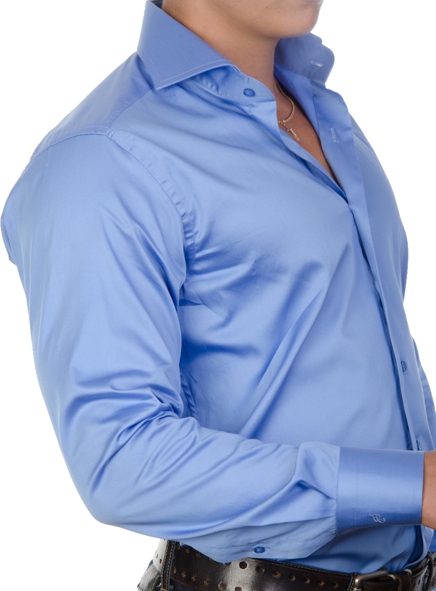 Blue Plain Long Dress Shirt