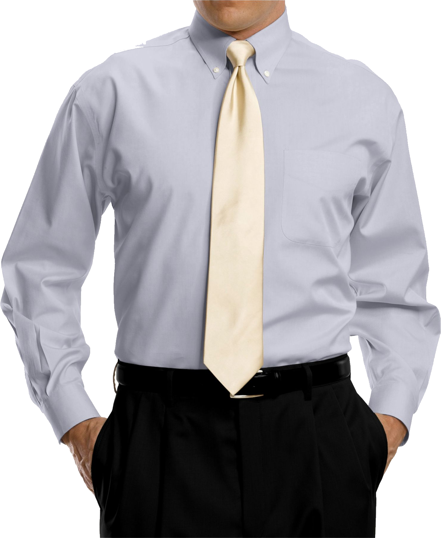 Bright Grey Full Sleeve Shirt With Golden Tie PNG Image
