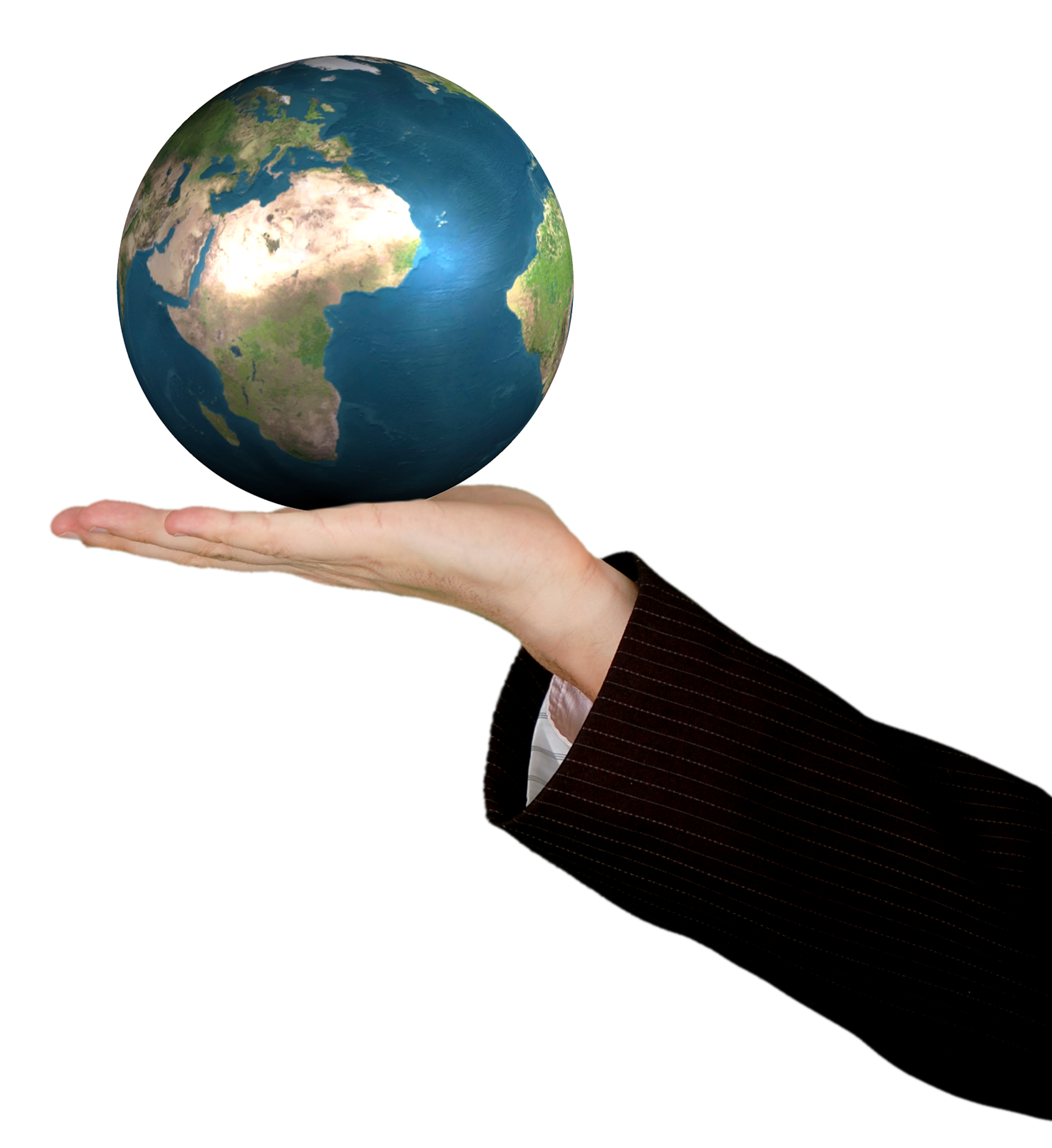 Business Woman Holding The World PNG Image