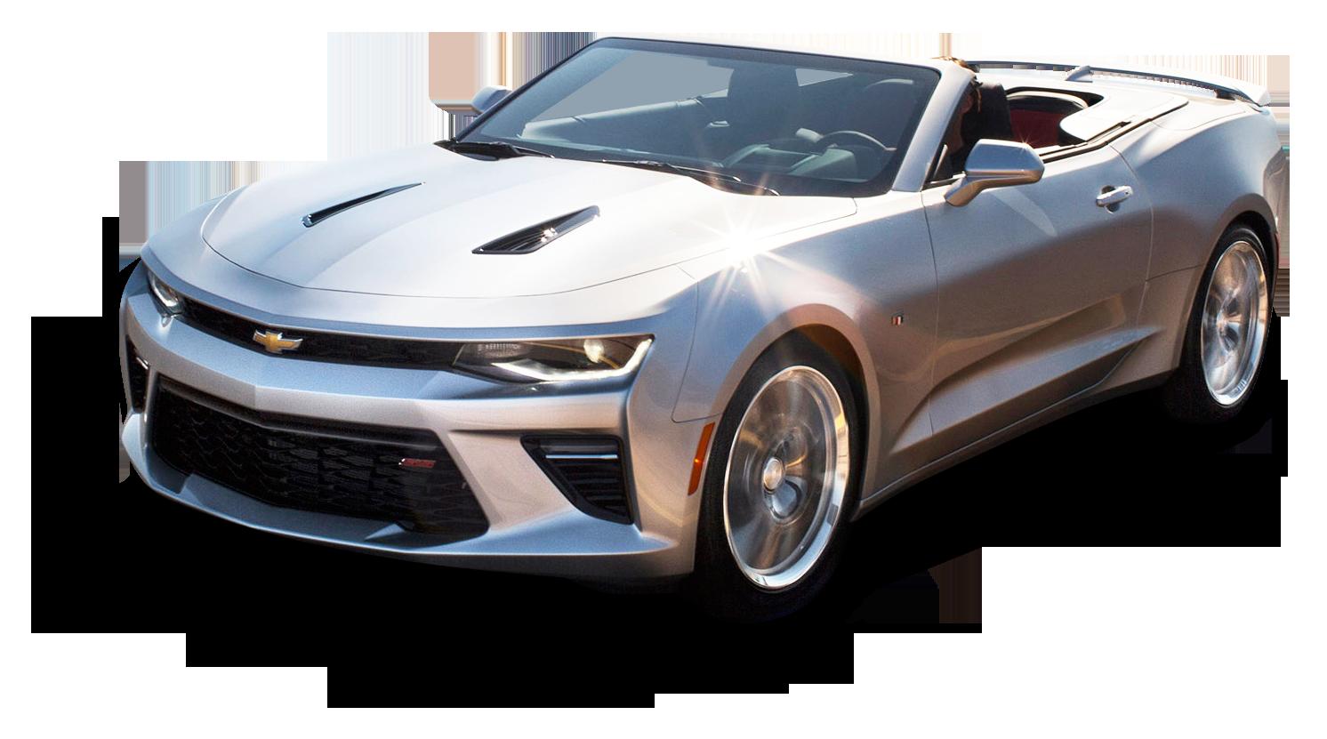 Chevrolet Camaro Convertible Silver Car PNG Image