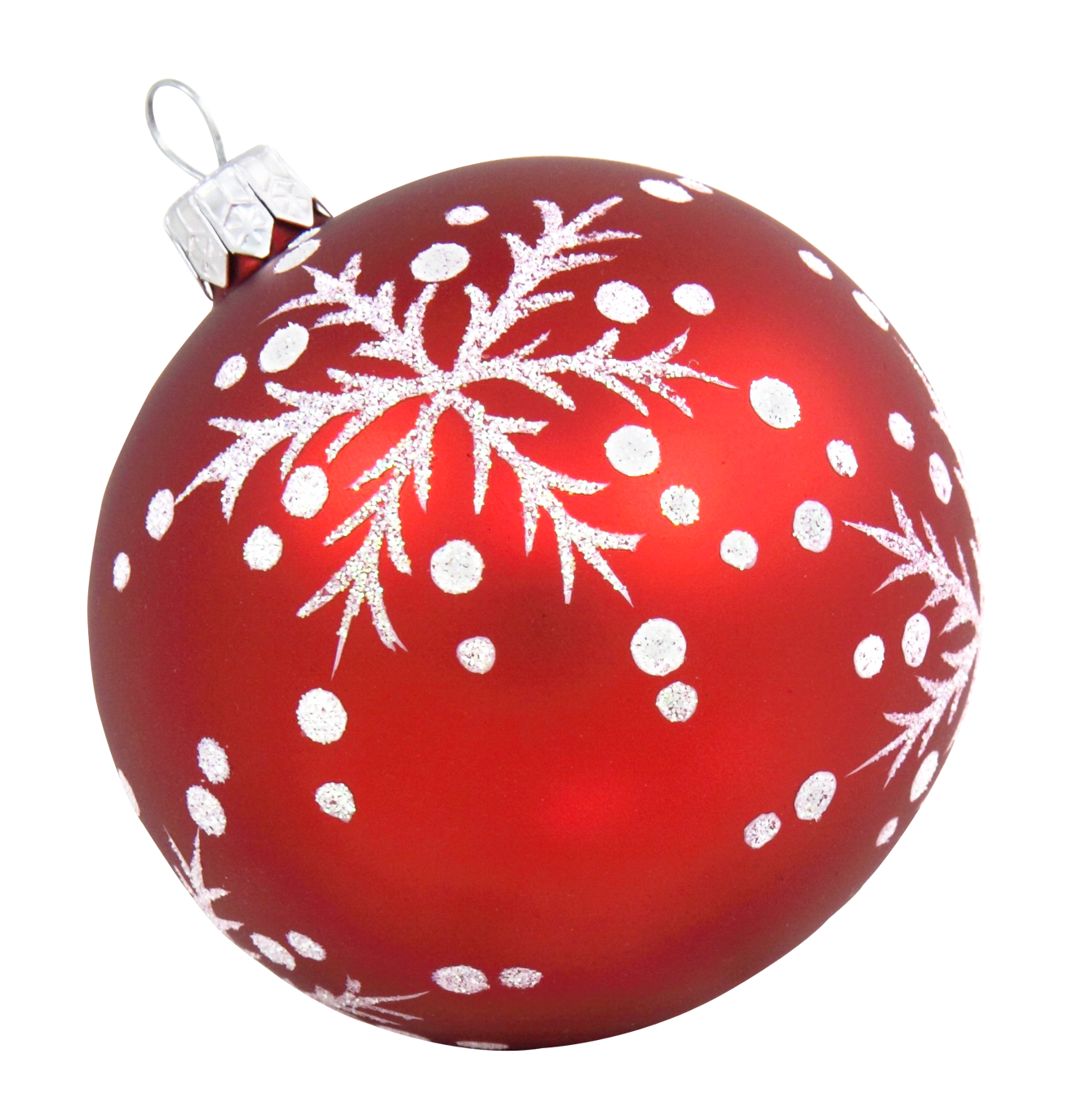 Red Christmas Bauble with Snow PNG Image