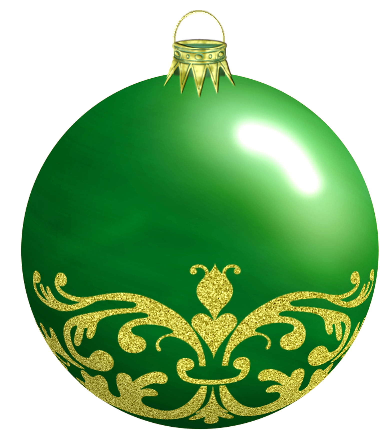 Green Christmas Bauble with Ornaments PNG Image
