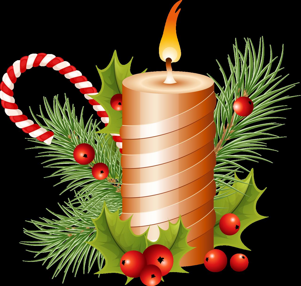 Sugar Cane Christmas Candle with Mistletoe PNG Image