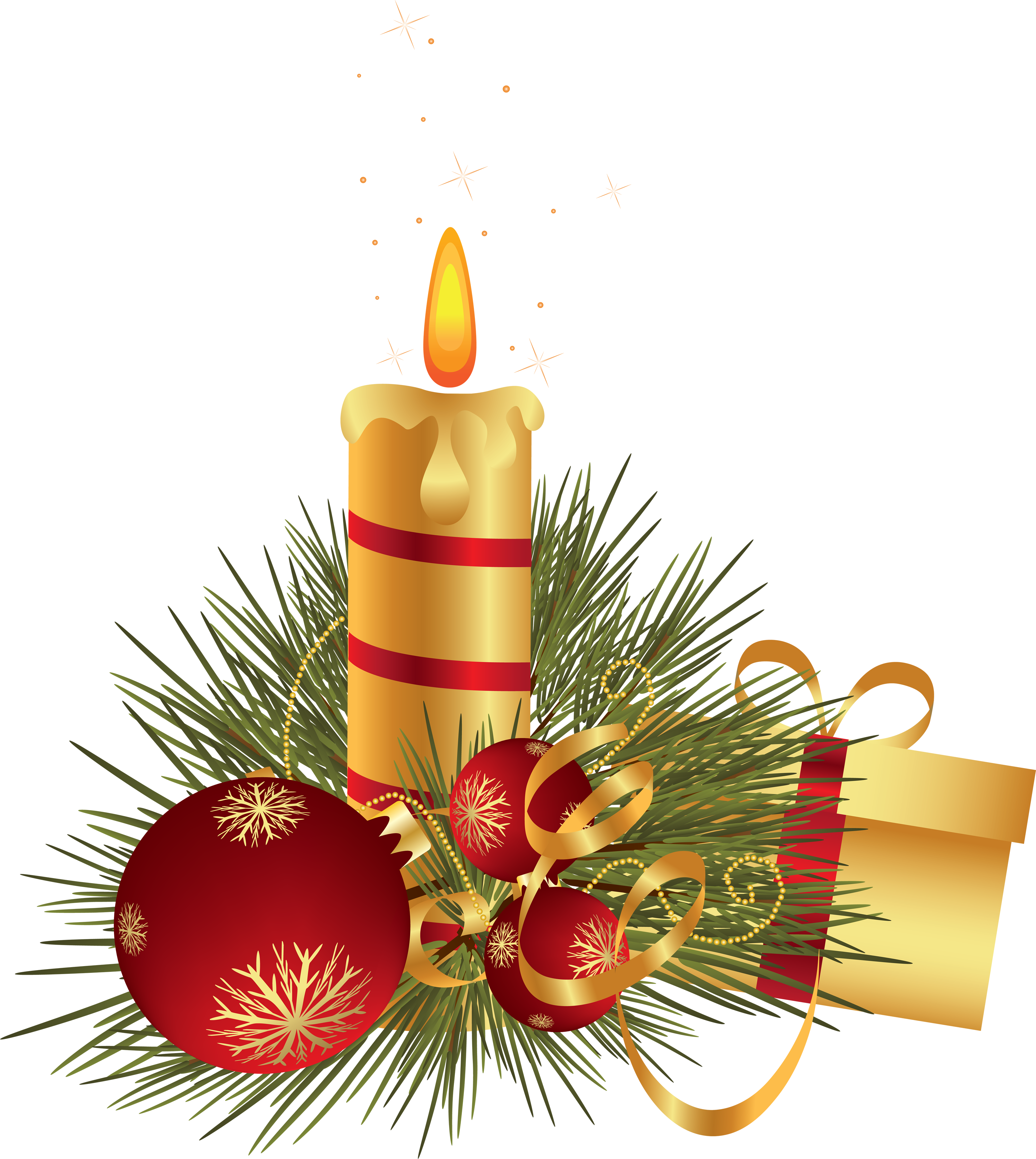 Christmas Candle with Gift and Baubles PNG Image