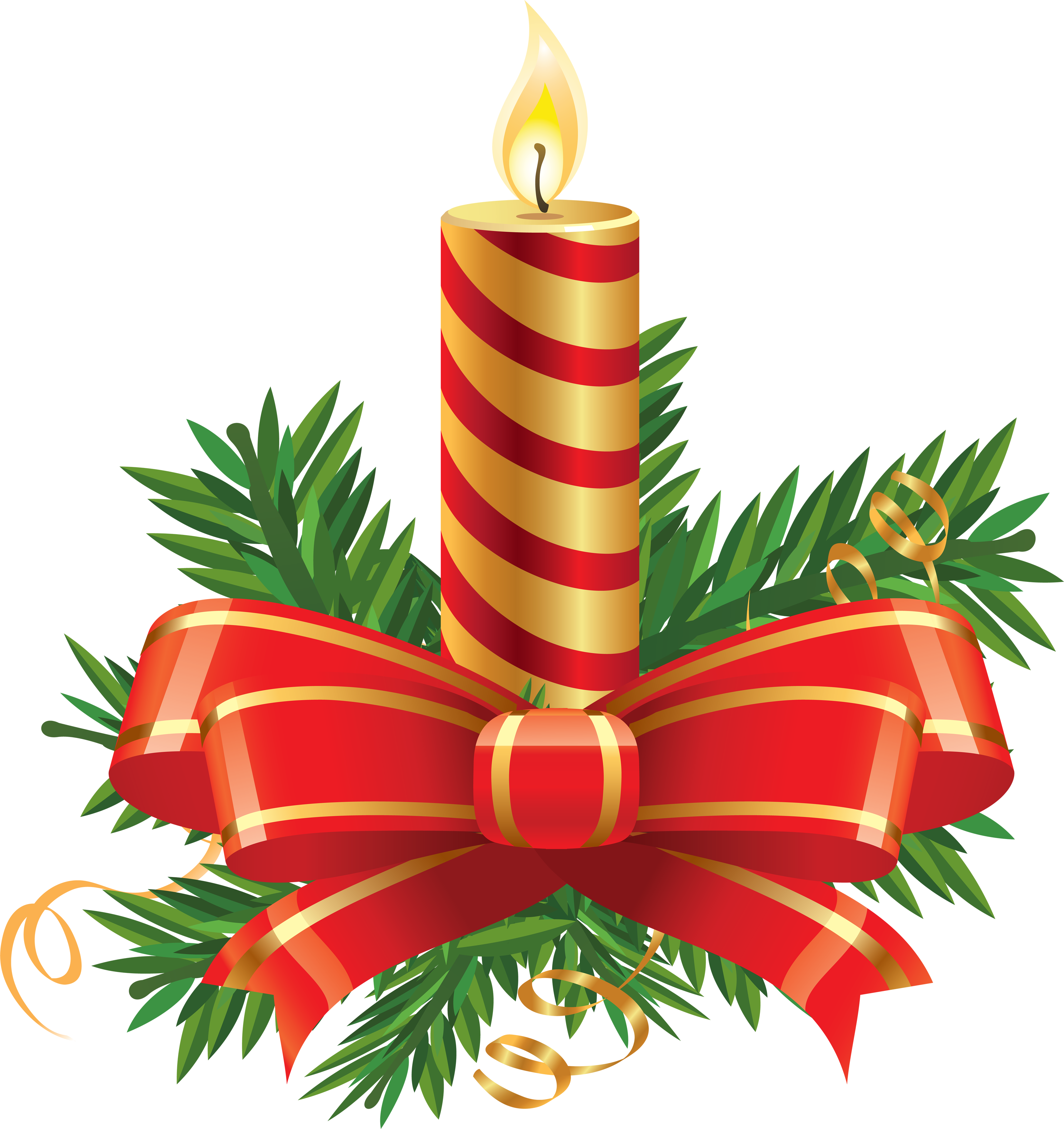 Striped Christmas Candle with Big Bow  PNG Image