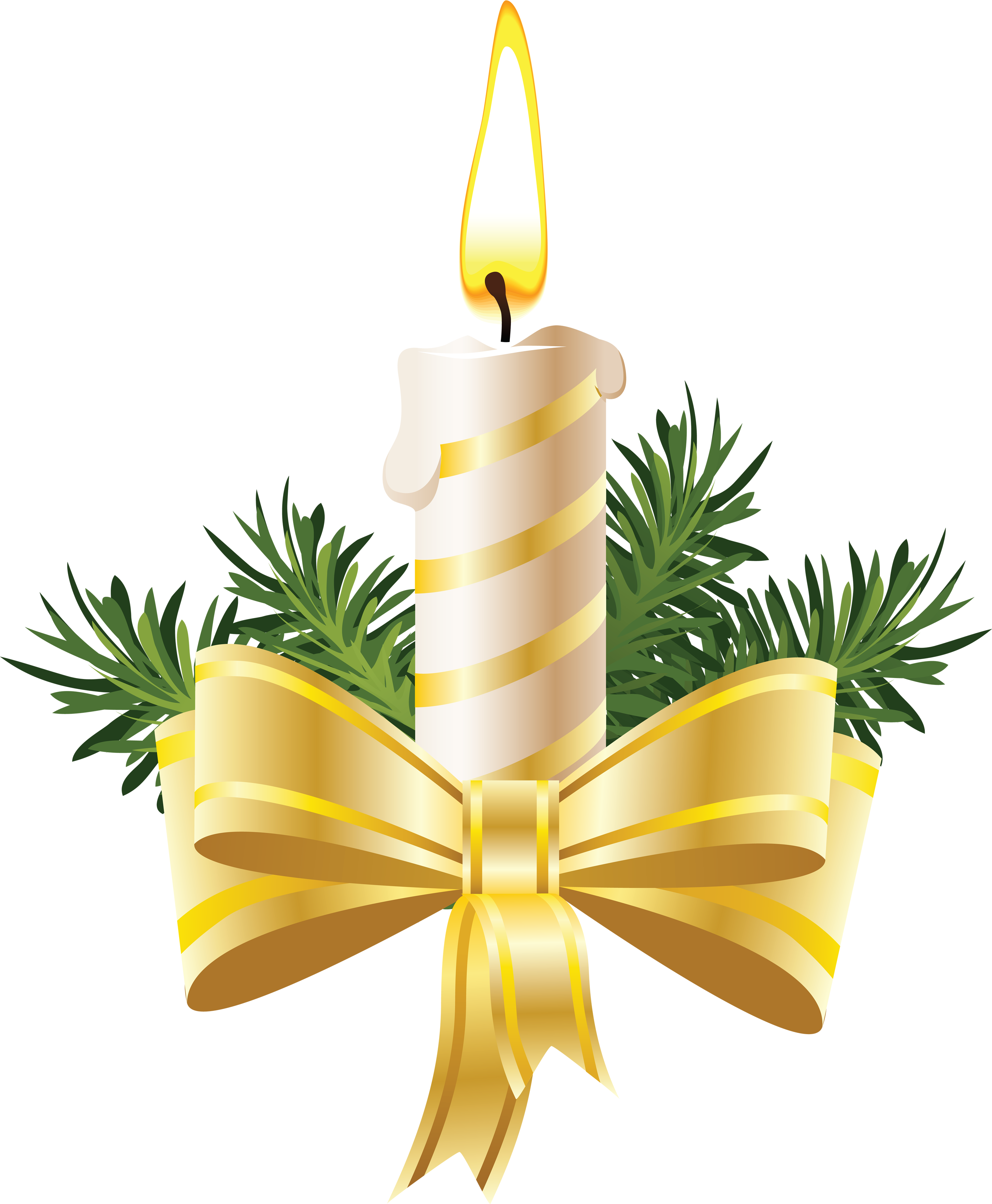Christmas Candle with Big Bow PNG Image