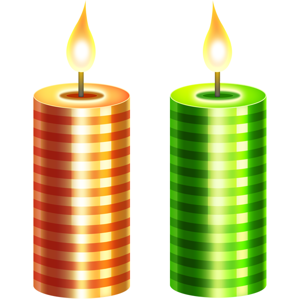 Two Christmas Candle PNG Image