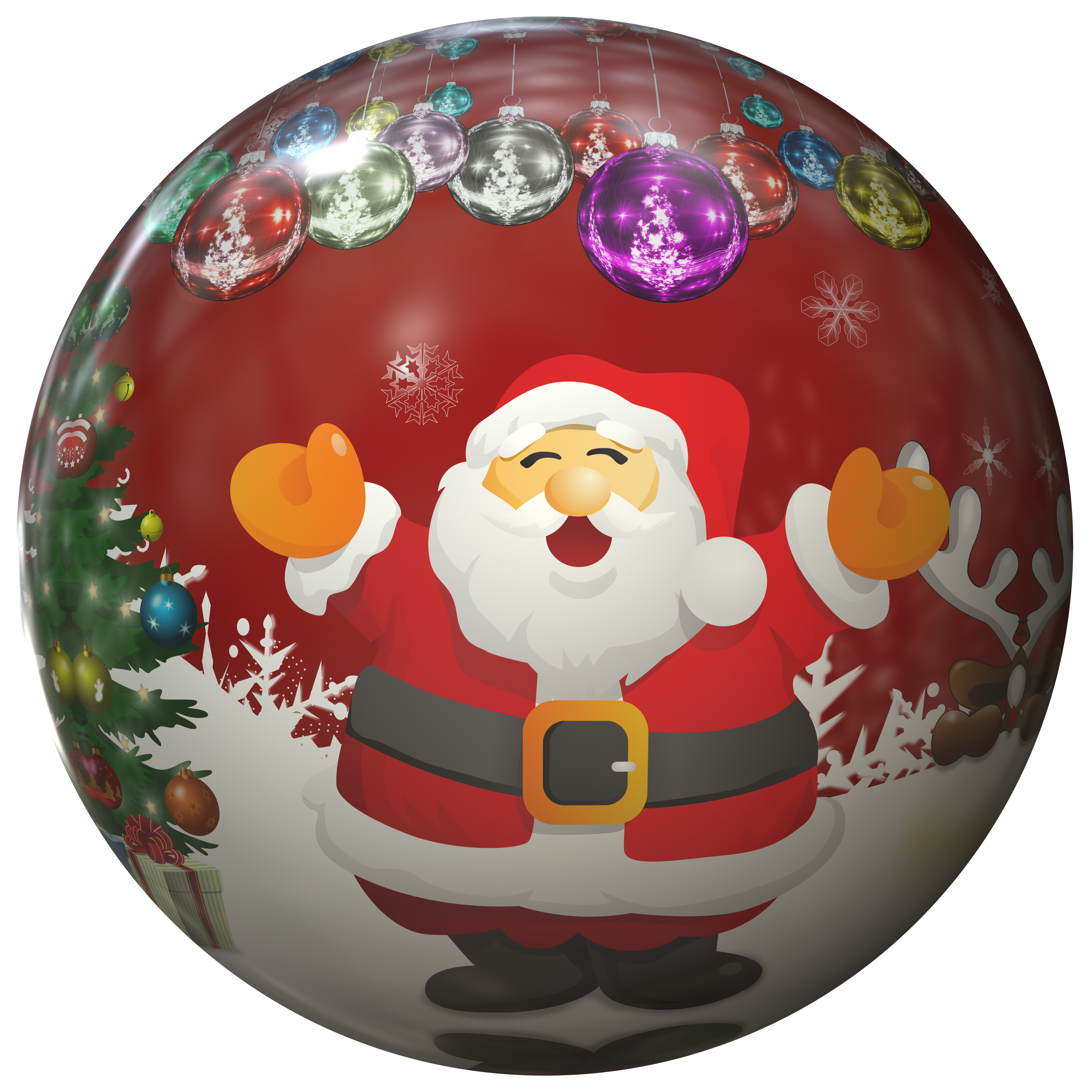 Christmas Bauble with Santa Claus PNG Image