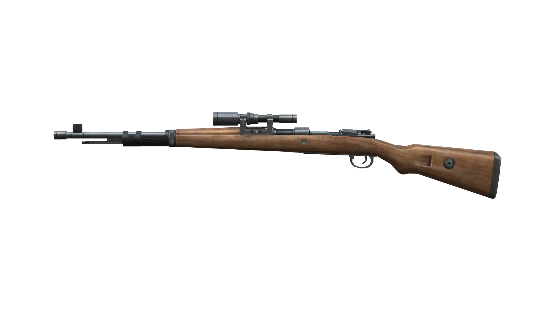 Classic wooden Sniper from side PNG Image