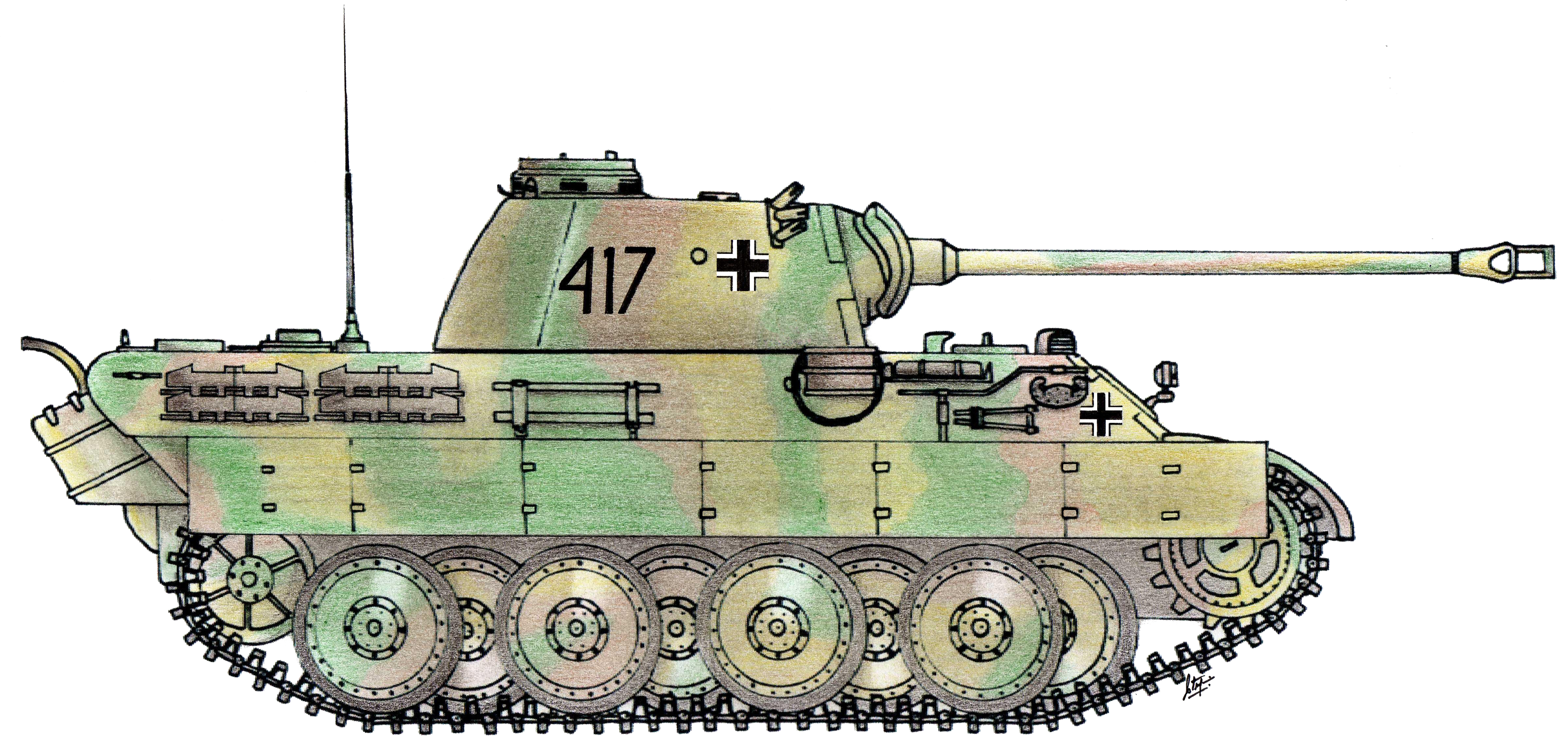 Colorful drawn Tank PNG Image