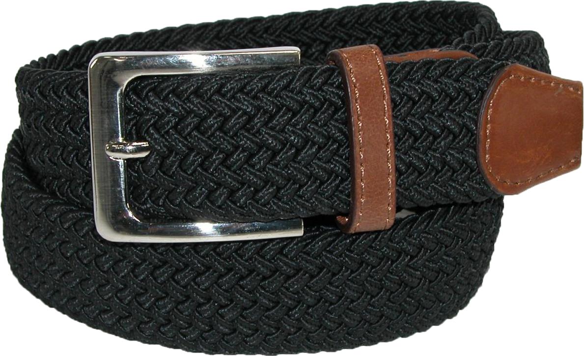 Ctm Mens Elastic Silver Buckle  Belt