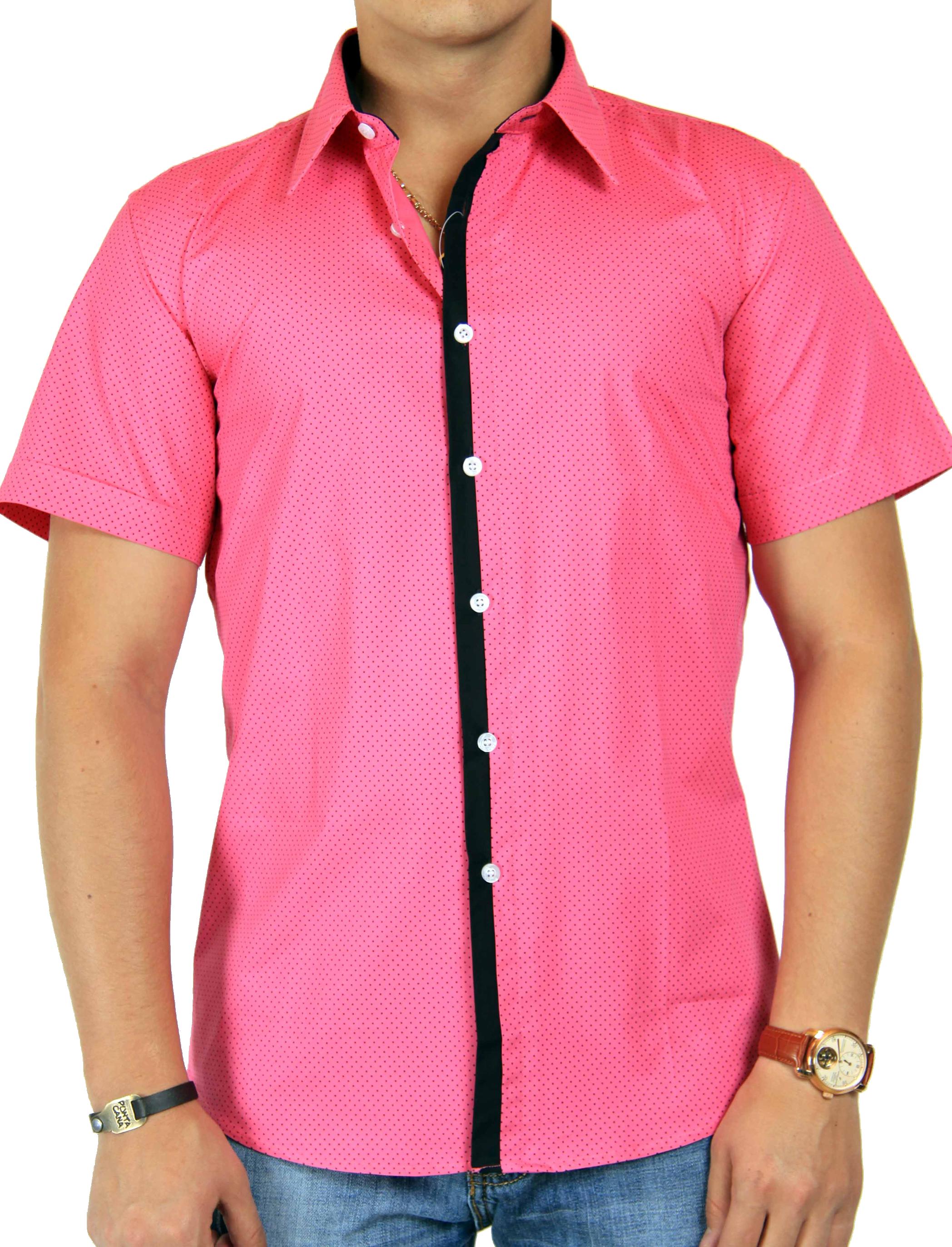 Dot Printed Pink Half Shirt PNG Image