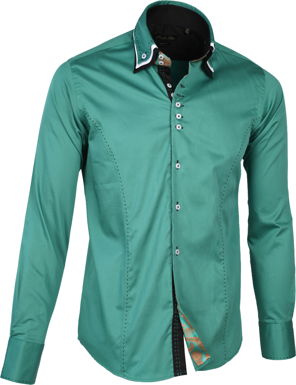Dress Shirt Detachable collar Green PNG Image