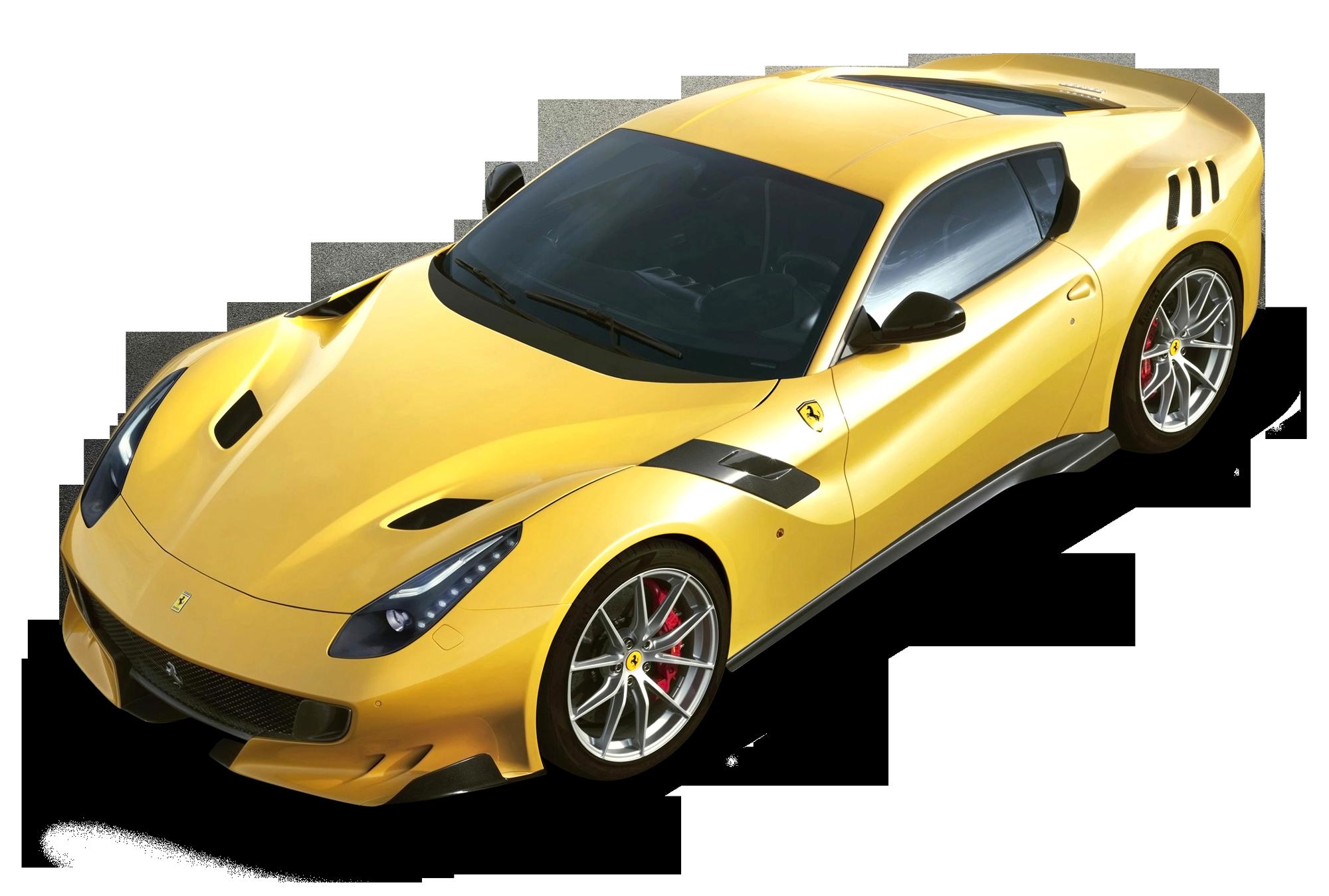 ferrari f12tdf yellow car png image purepng free transparent cc0
