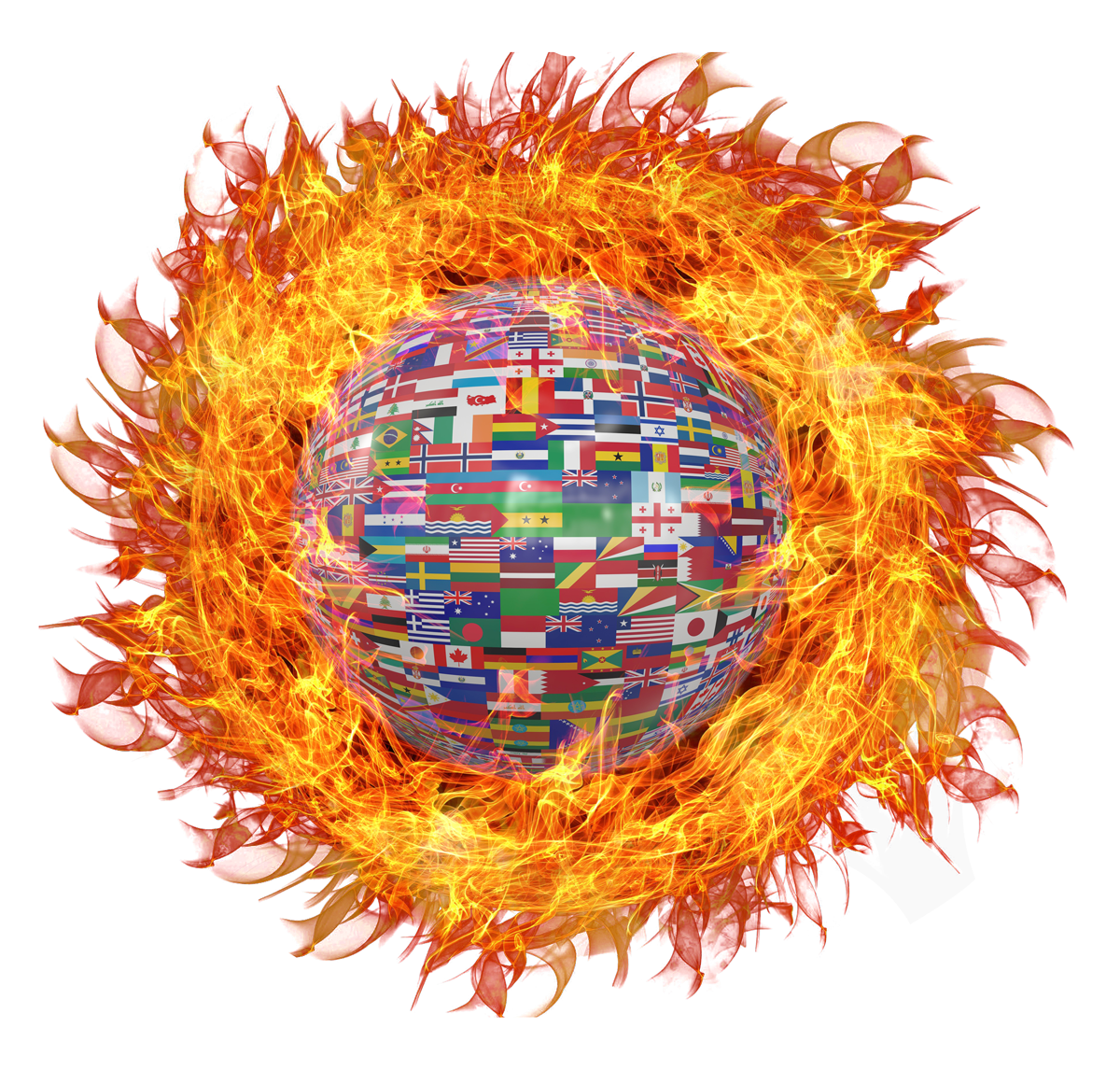 Globe with World Flags on Fire PNG Image