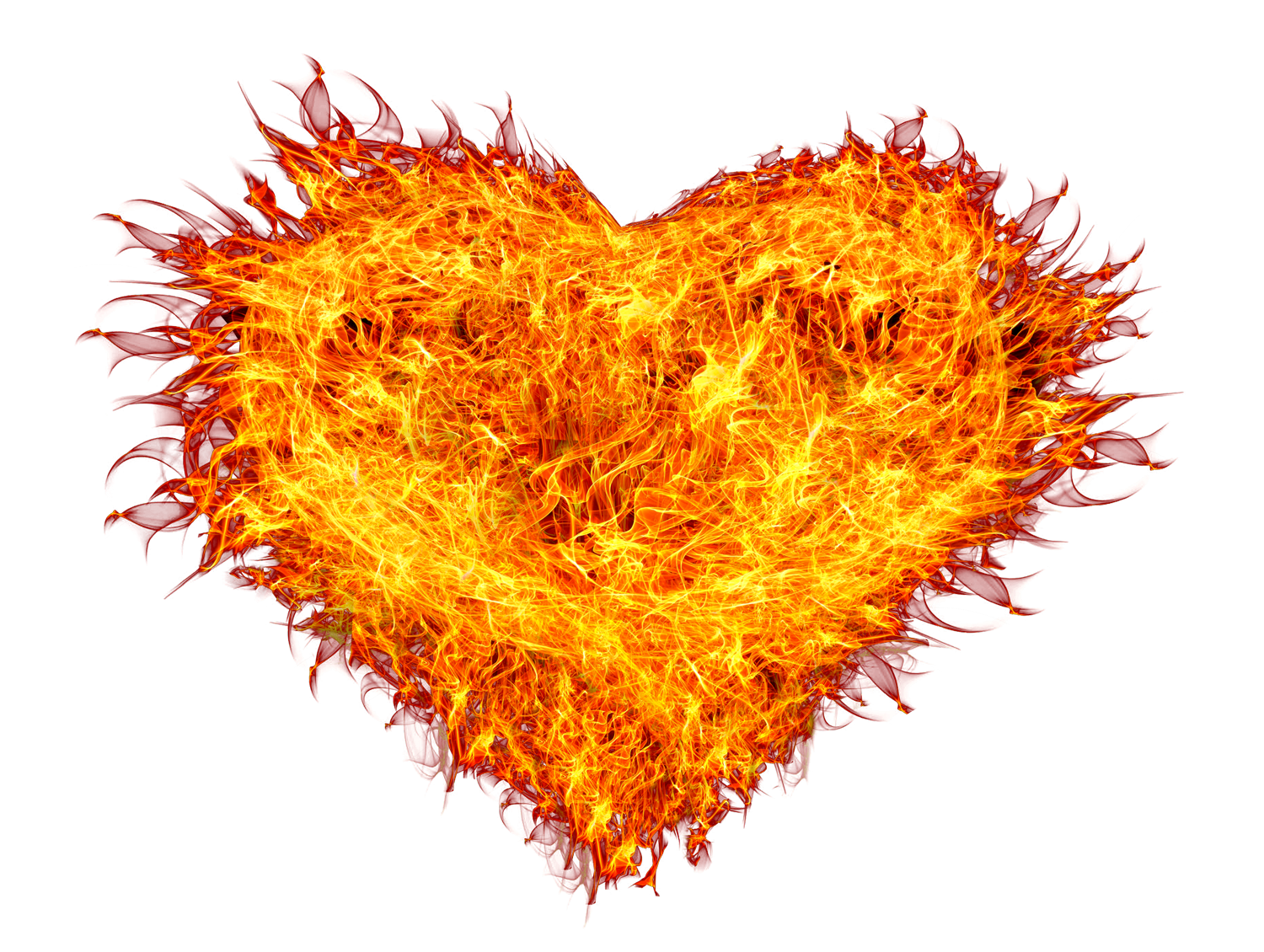 Burnings Heart on Fire PNG Image