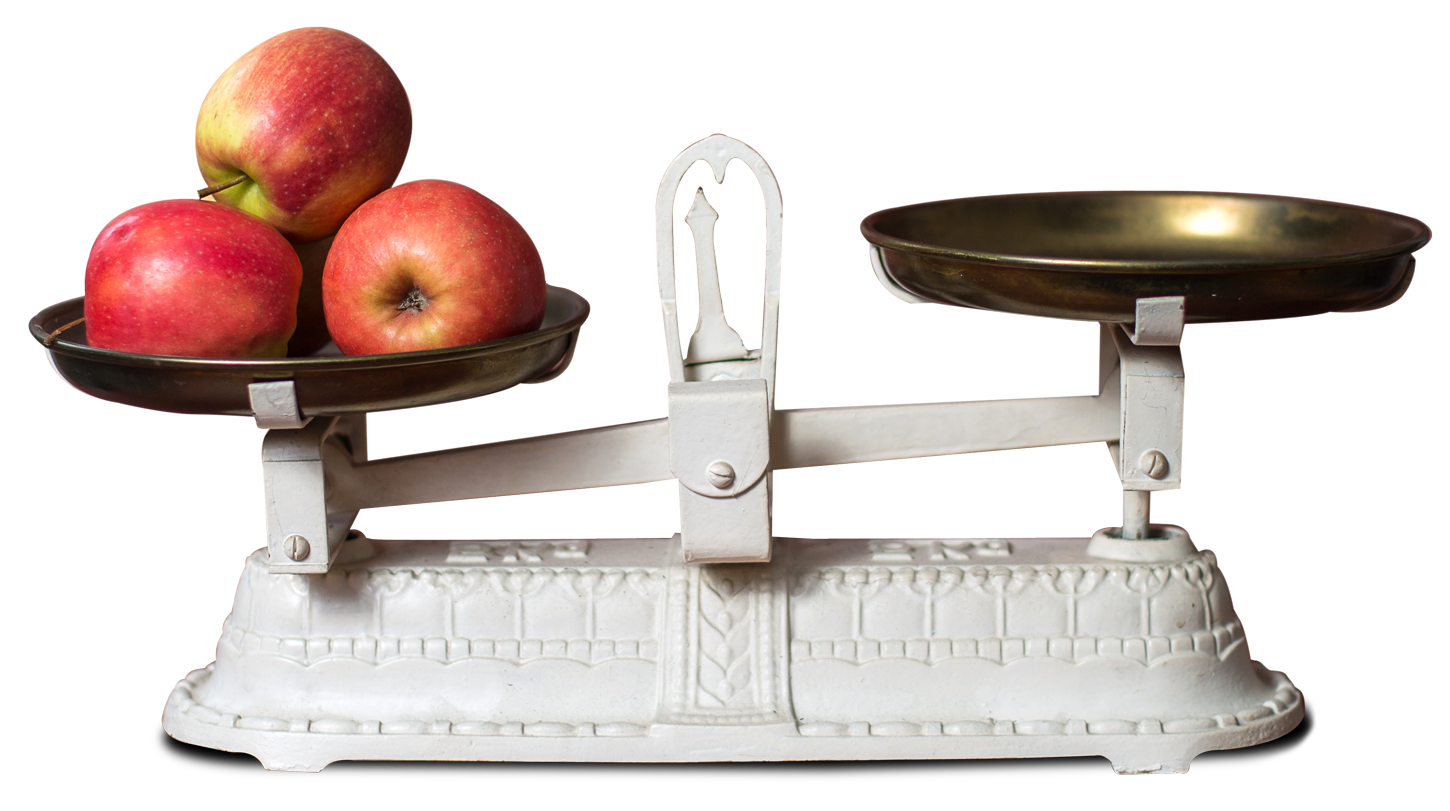 Fresh Apple in Weight Scale PNG Image