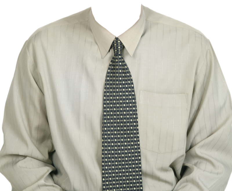 Full Length Dress Shirt  With Tie PNG Image