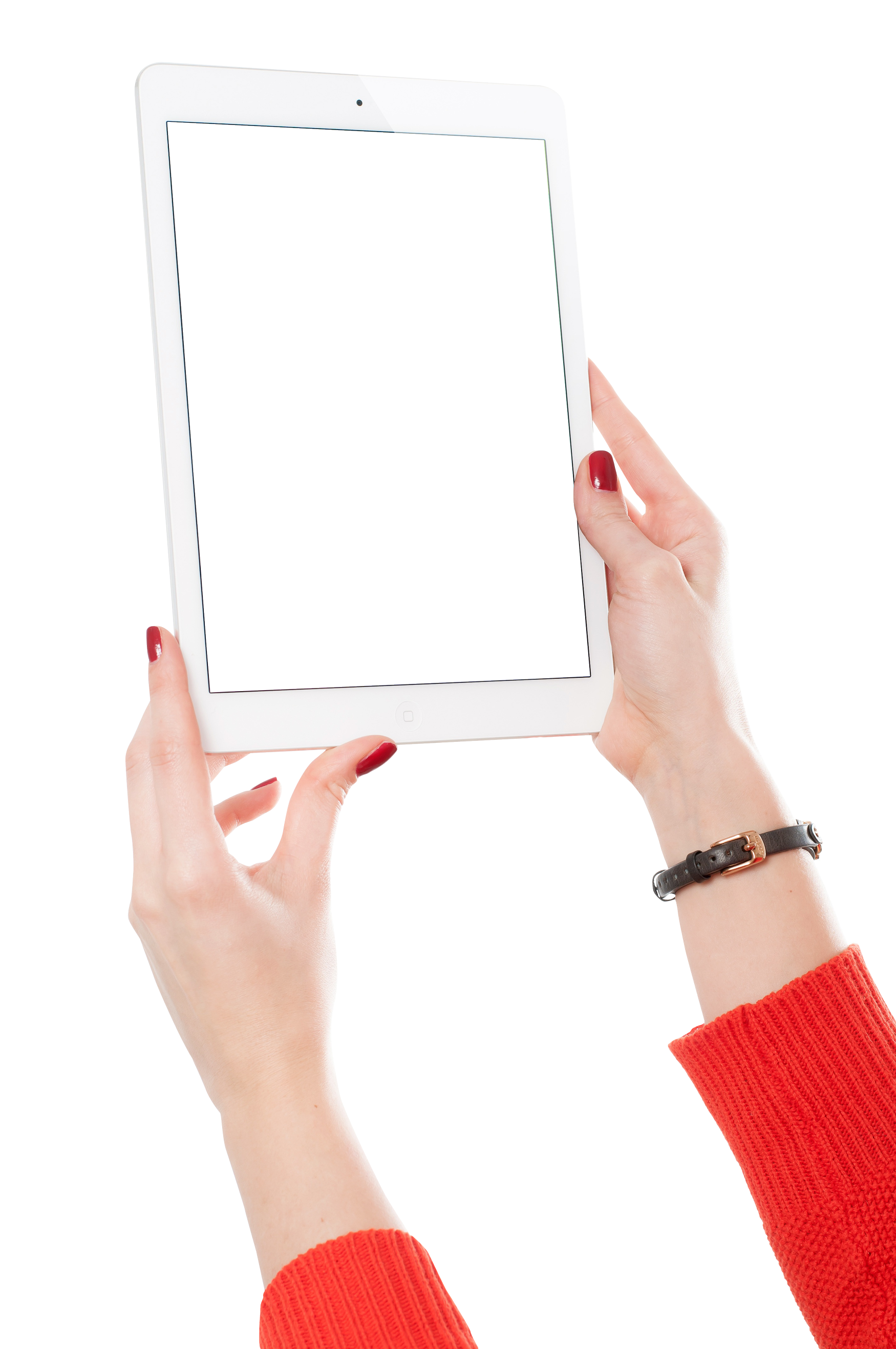 Girl Hand Holding White Tablet PNG Image