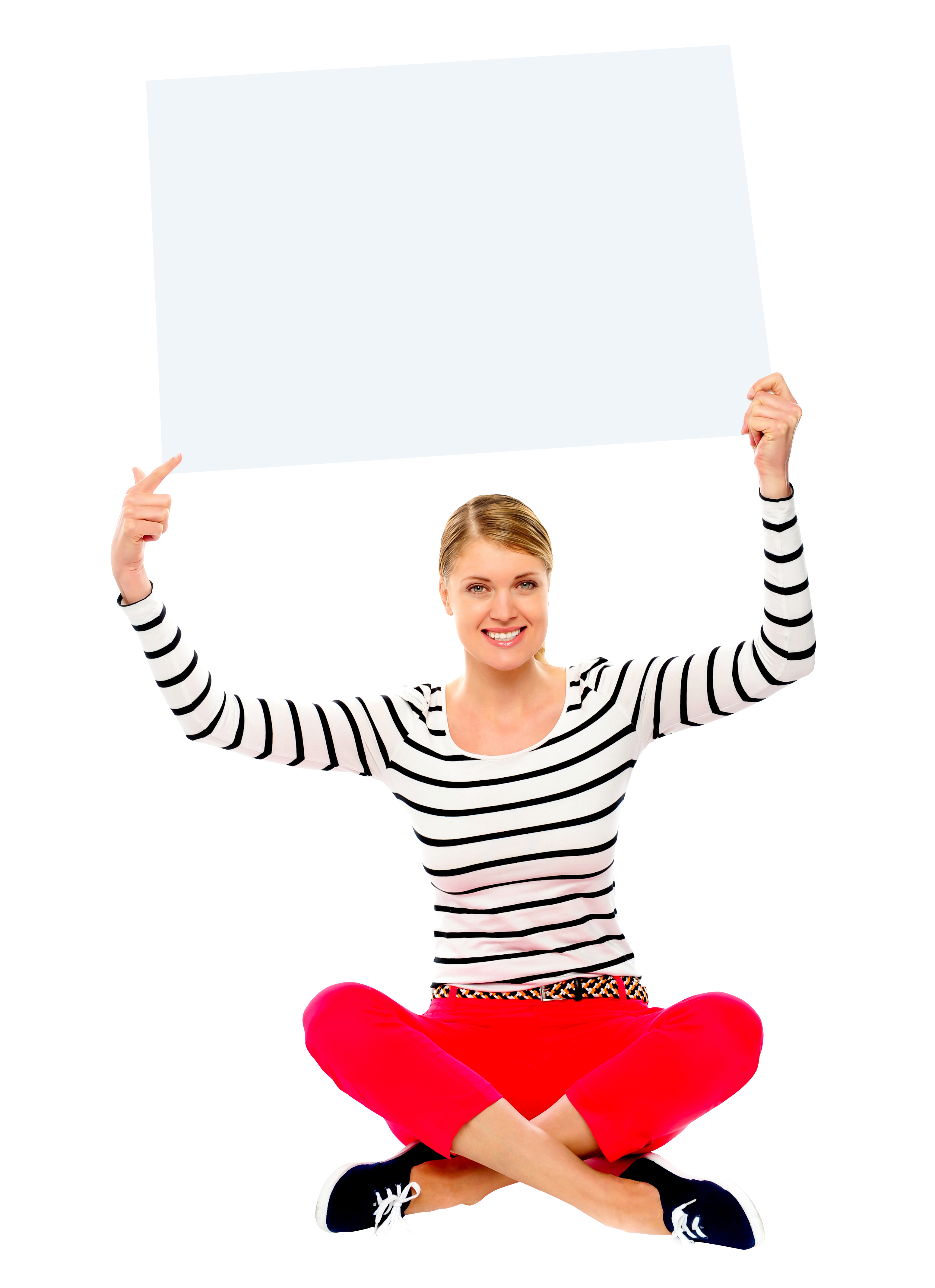 Girl Holding Banner PNG Image