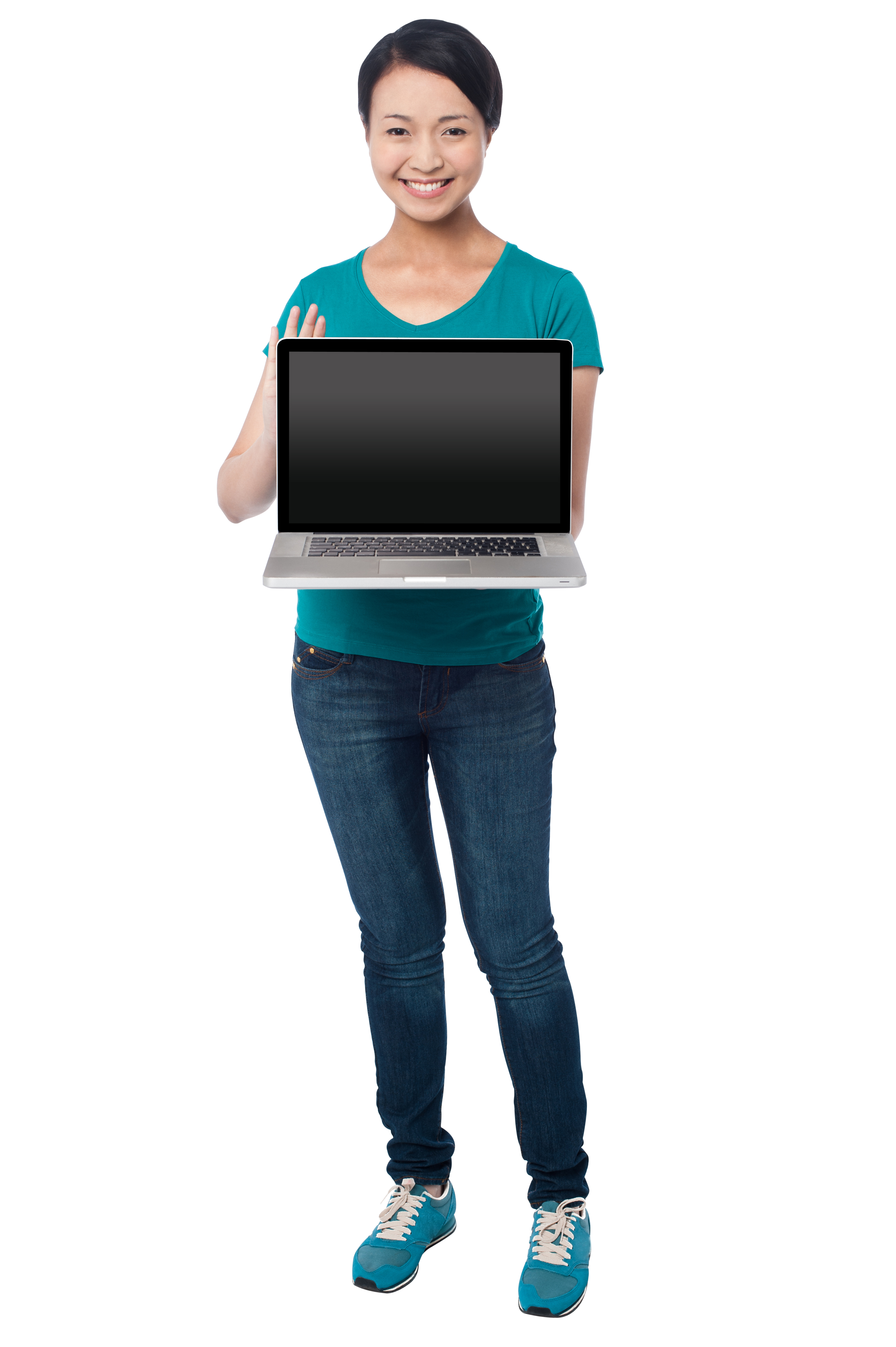 Girl With Laptop PNG Image