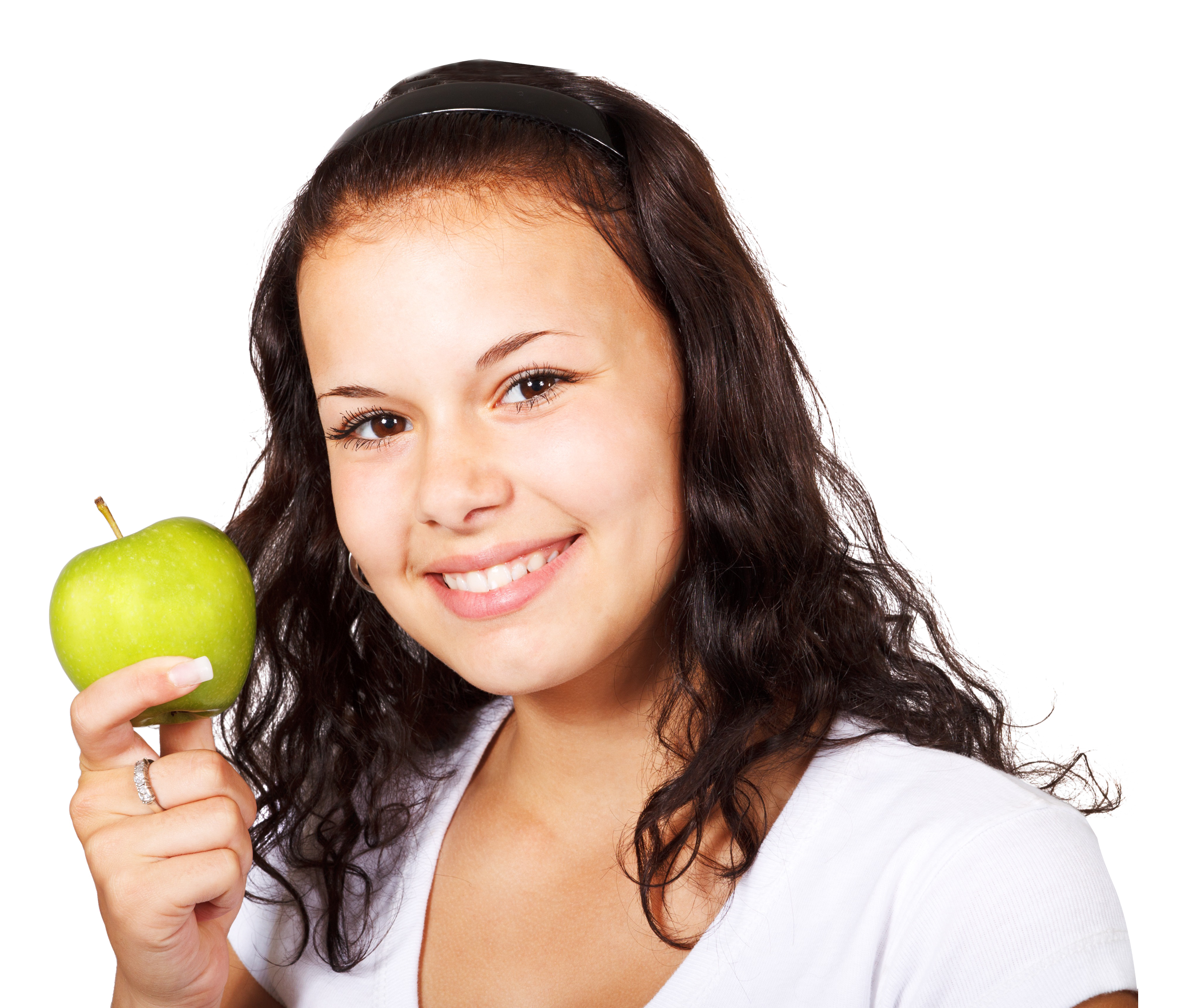 Girl with Red Apple PNG Image