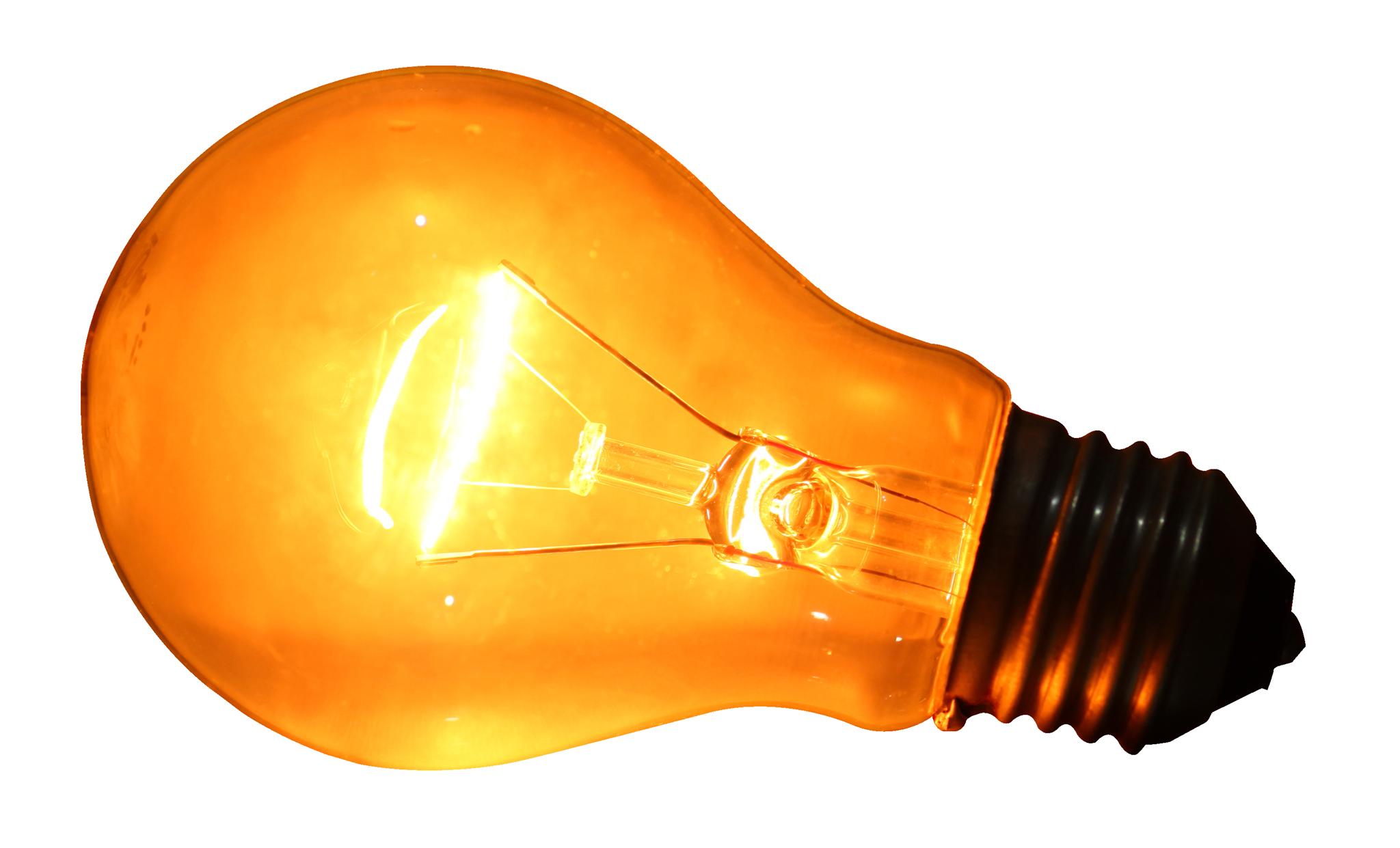 Glowing Yellow Light Bulb