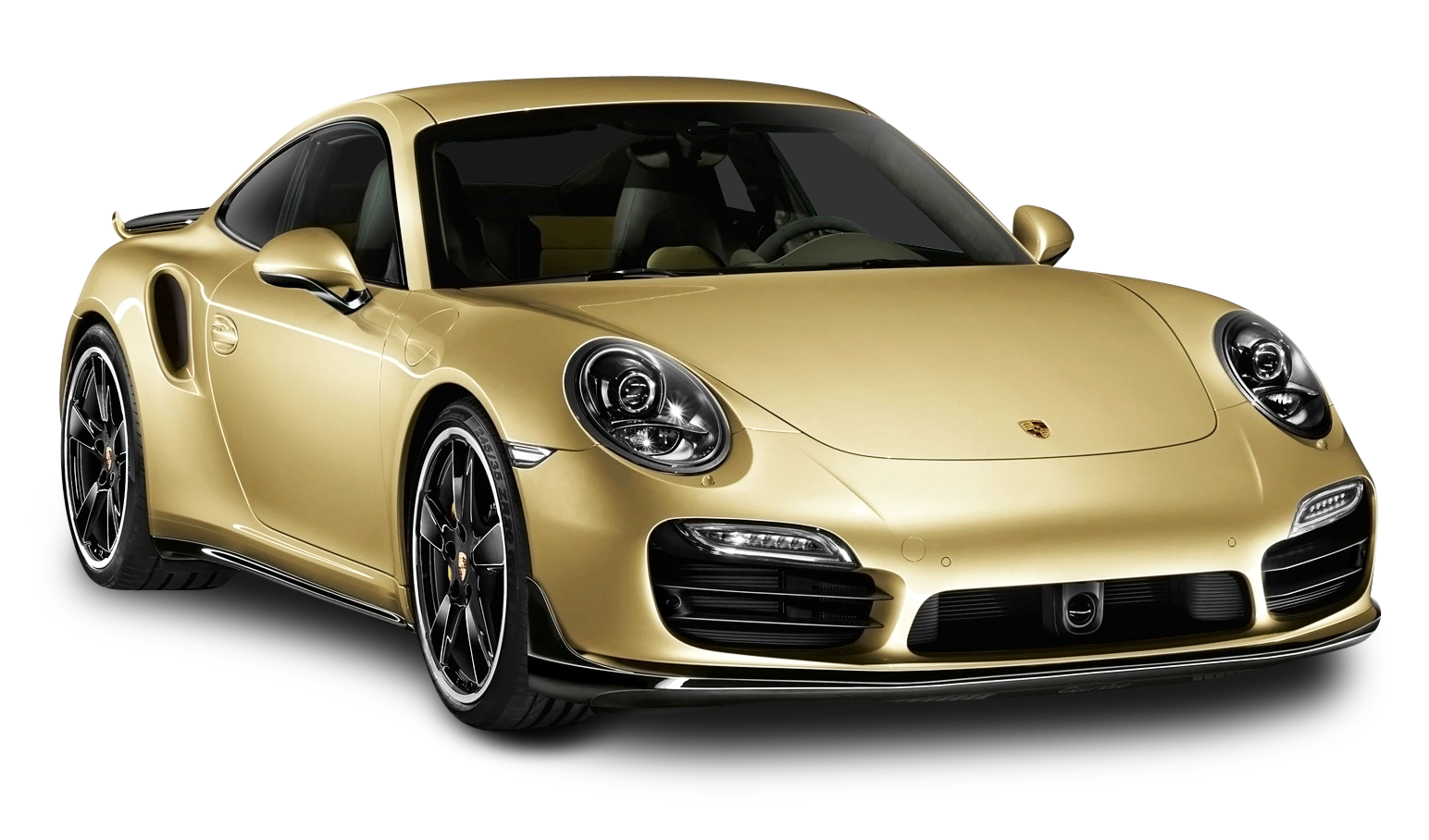 Gold Porsche 911 Turbo Aerokit Car PNG Image