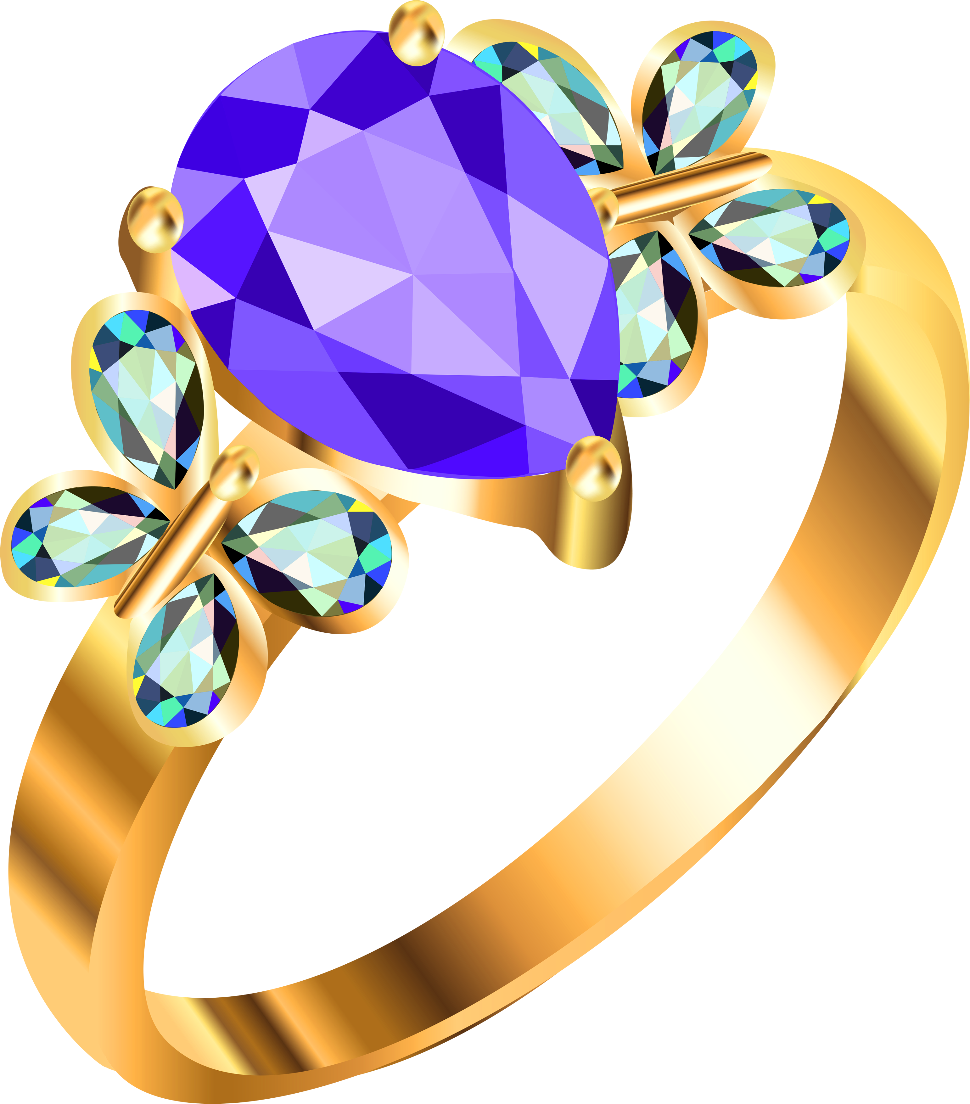 Gold Ring With Blue And Purple Diamonds PNG Image