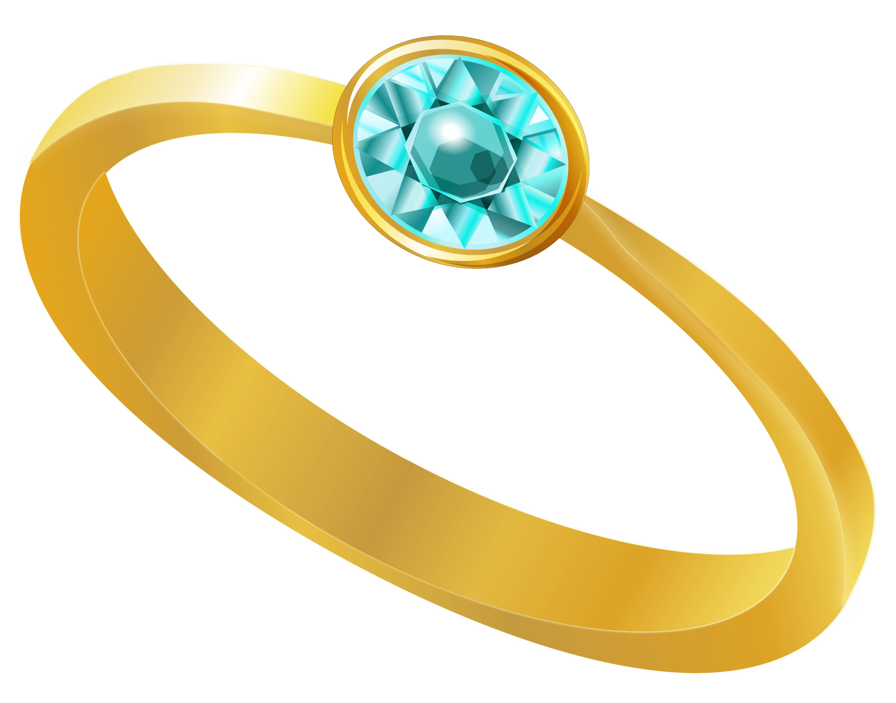 Gold Ring With Blue Diamond